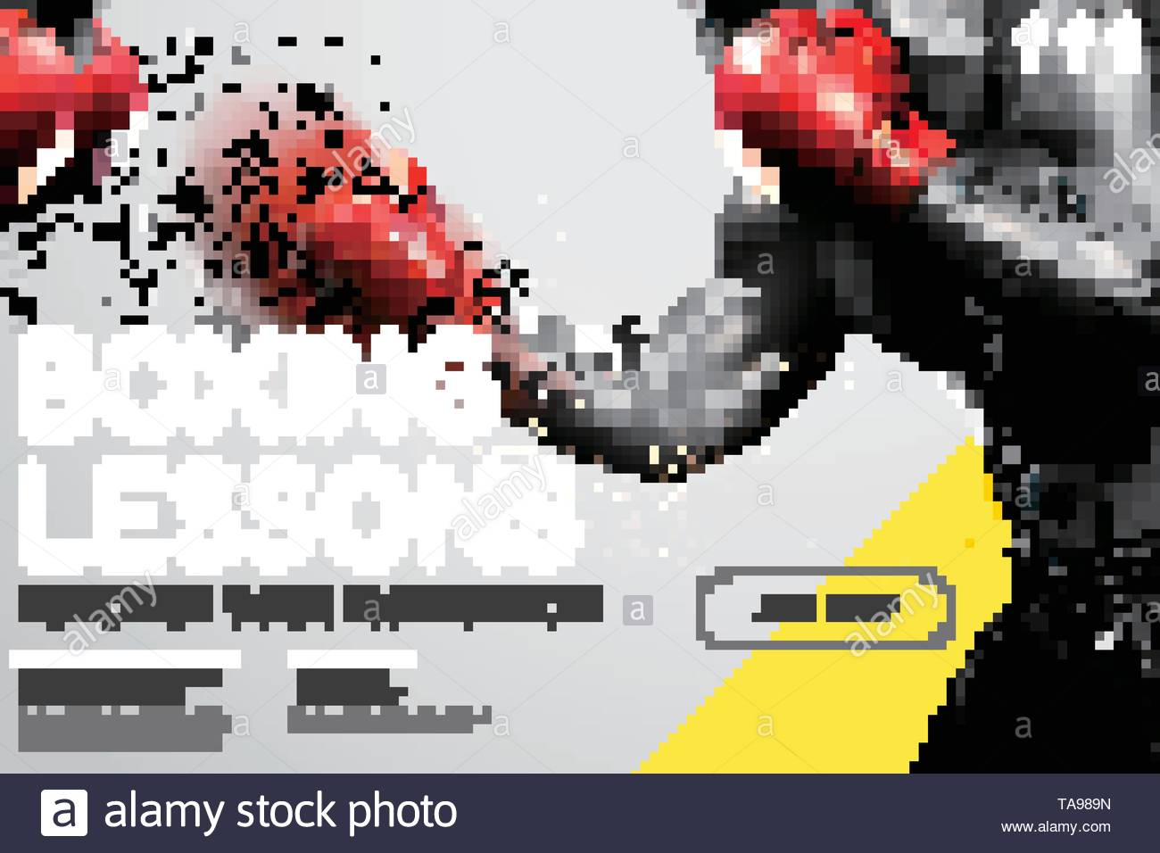 Boxing lessons website design with strong boxer throwing hook in 3d illustration, grey and yellow tone - Stock Image