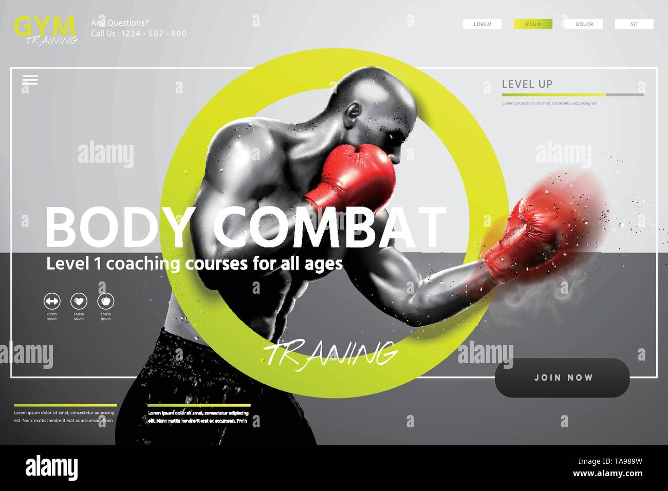 Boxing lessons website design with strong boxer throwing hook in 3d illustration, grey tone - Stock Image