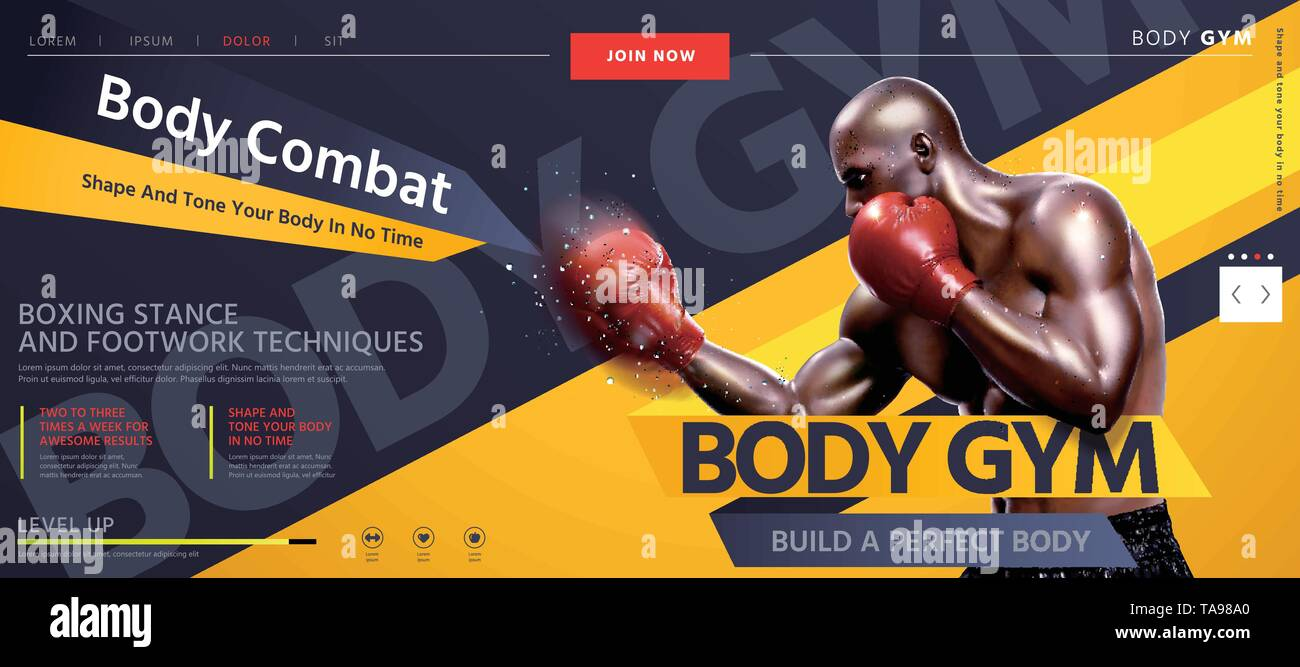 Body combat website design with strong boxer throwing hook in 3d illustration, grey and yellow tone - Stock Image