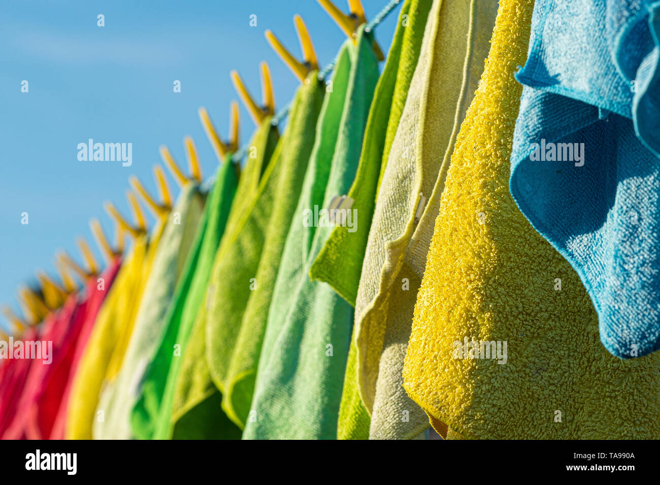 Microfibre cleaning cloths on a washing line. - Stock Image
