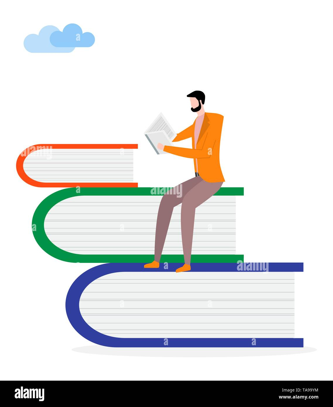 Vector illustration with man and books. Male reader, stack of giant books. Literature fans. Design for websites, print, presentation. Stock Vector