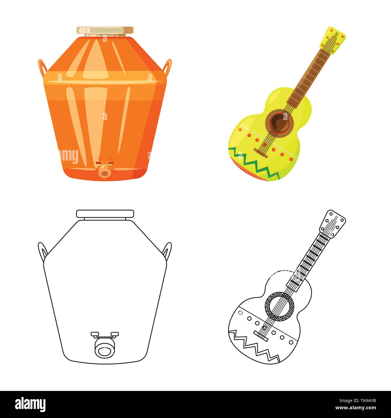Vector design of cafe and Latin icon. Collection of cafe and national stock vector illustration. - Stock Image