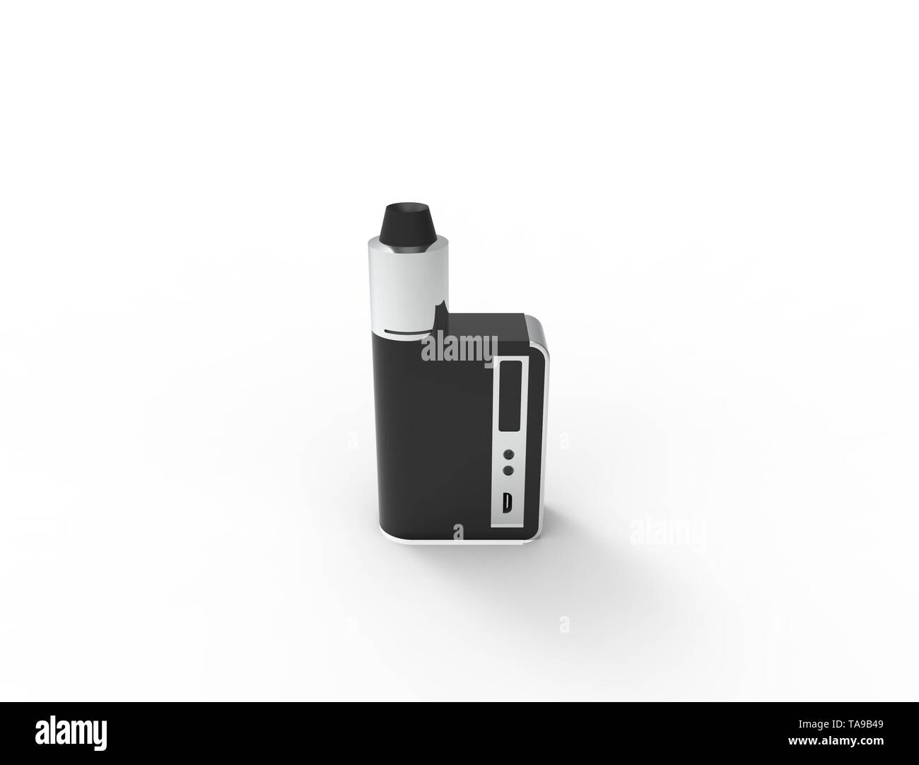 3D rendering of a electronic cigarette isolated in white background - Stock Image