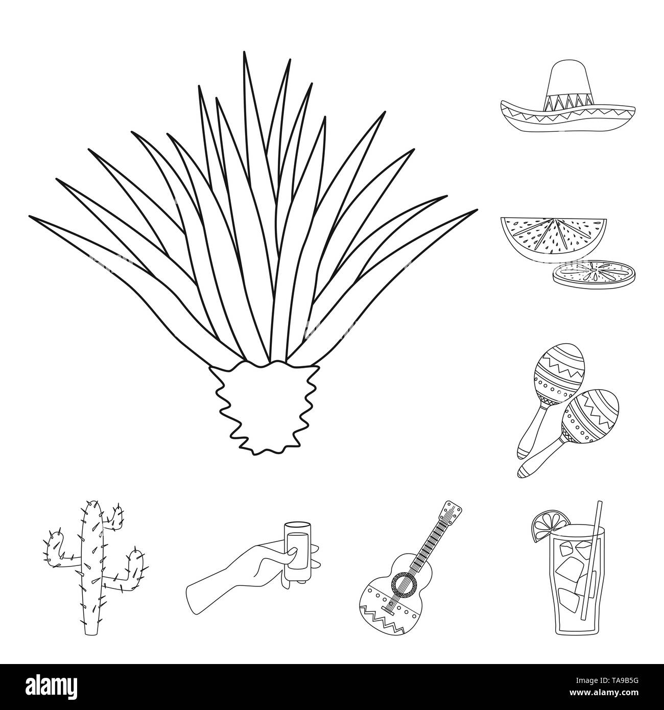 Vector illustration of Mexico and tequila logo. Set of Mexico and fiesta vector icon for stock. - Stock Image