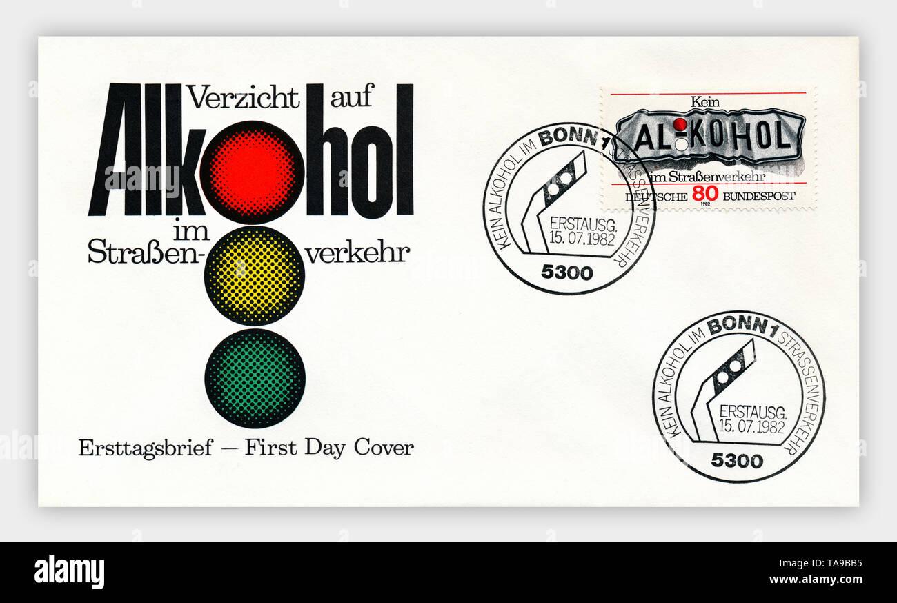 Ersttagsbriefe der Deutschen Bundespost, 'Kein Alkohol im Straßenverkehr', 1979, Deutschland, Europa - Stock Image