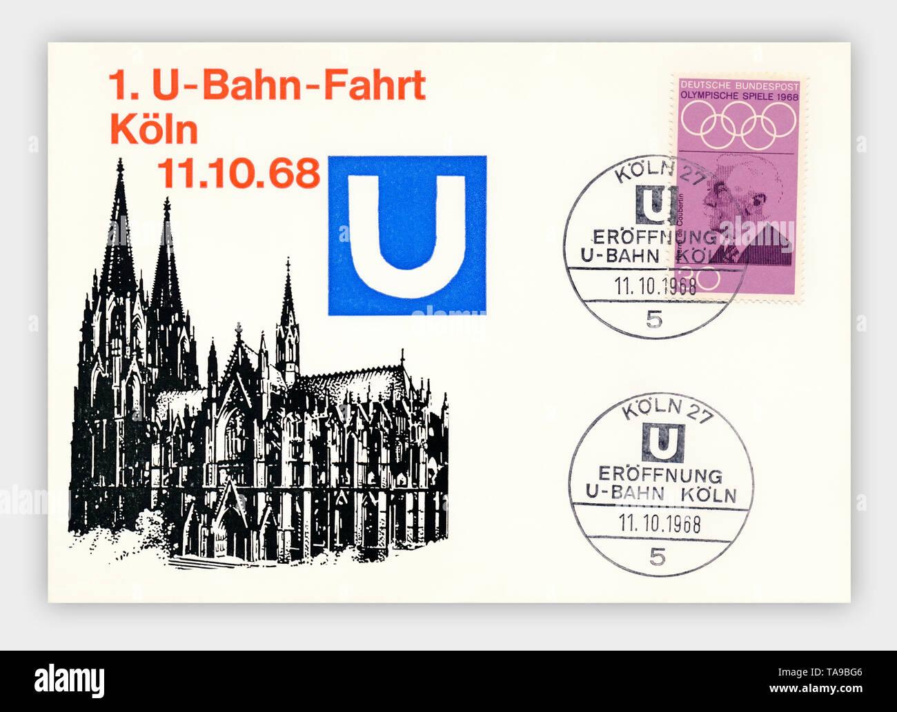 Ersttagsbriefe der Deutschen Bundespost, 1. U-Bahnfahrt in Köln am 11.10.1968, Deutschland, Europa Stock Photo