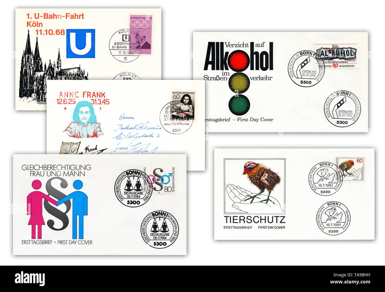 Ersttagsbriefe der Deutschen Bundespost, Deutschland, Europa Stock Photo