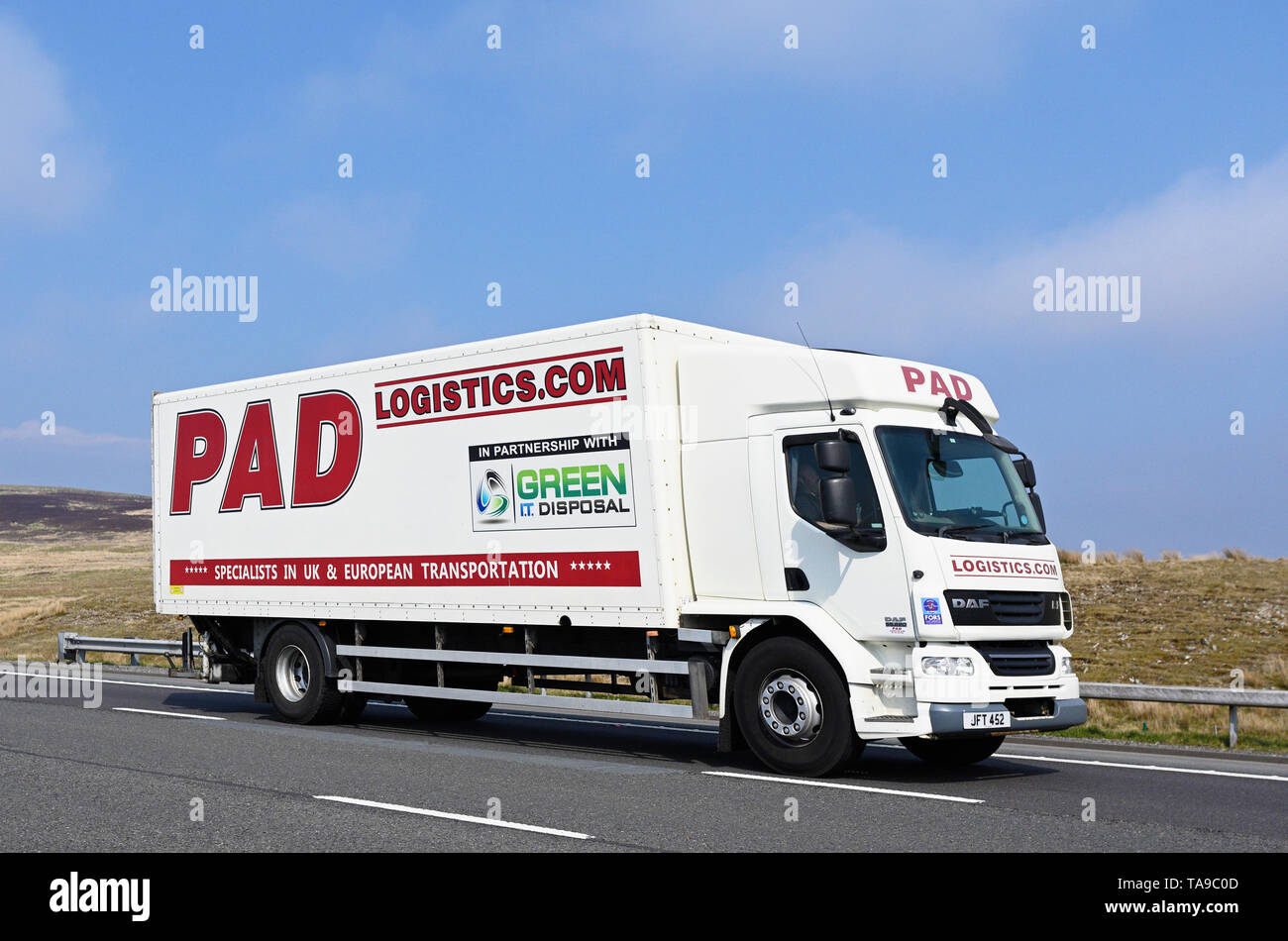 PAD Logistics, Specialists in U.K. and European transportation, HGV. M6 Motorway, Southbound, Shap, Cumbria, England, United Kingdom, Europe. - Stock Image