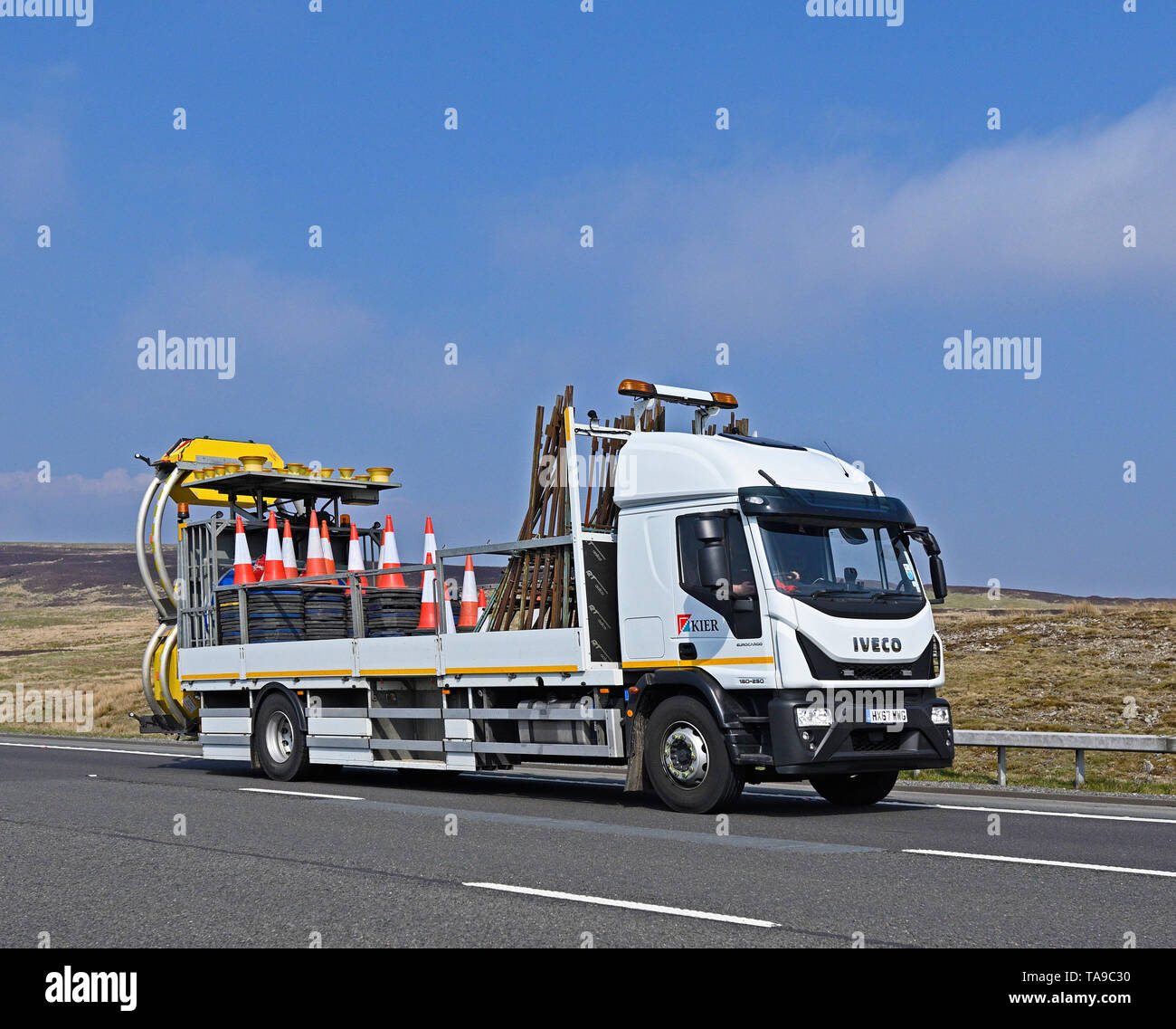 Kier Group Truck with load of traffic cones. M6 Motorway, Southbound, Shap, Cumbria, England, United Kingdom, Europe. - Stock Image