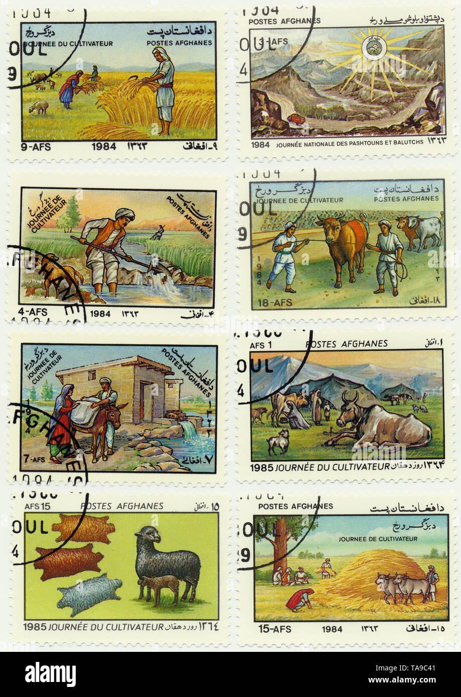 Historic postage stamps from Afghanistan, celebration of the day of agriculture, Historische Briefmarken aus Afghanistan zum Tag der Landwirtschft, 1985 - Stock Image