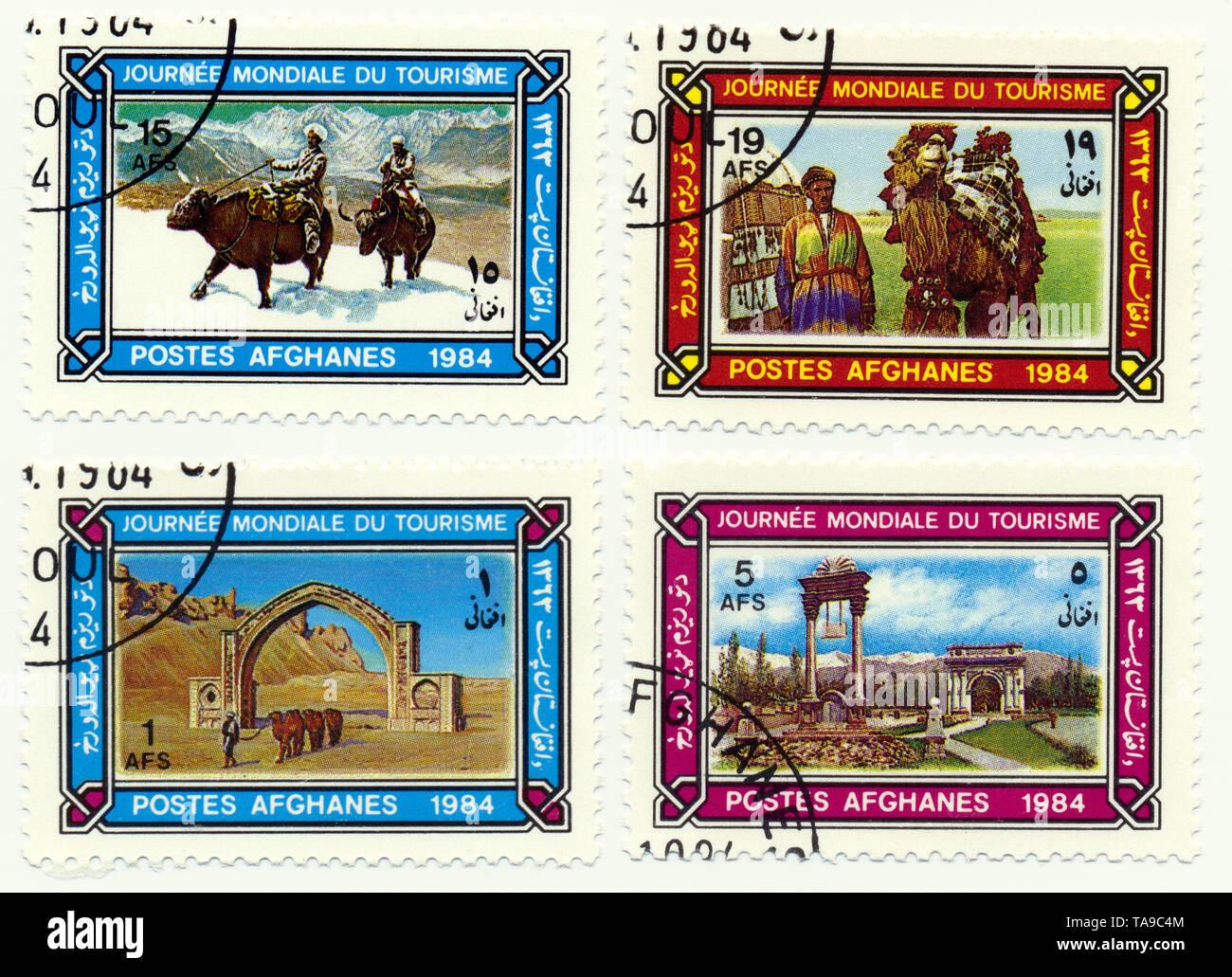 Historic postage stamps from Afghanistan, celebration of the World Tourism Day, Historische Briefmarken aus Afghanistan zum Welttourismustag, 1984 - Stock Image