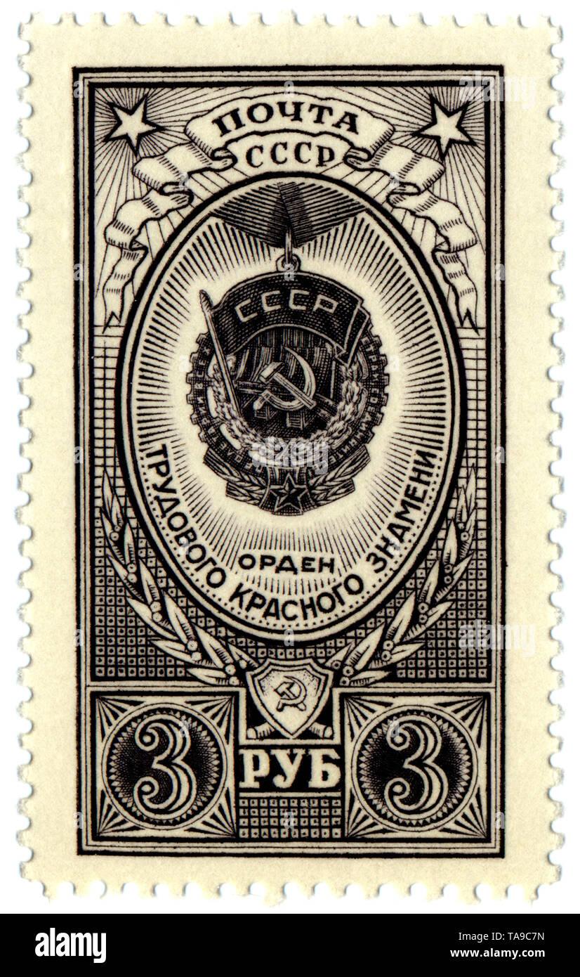 Historic postage stamps of the USSR, political motives, medallion, Historische Briefmarken, Orden und Medaillen der UdSSR, 1952 - Stock Image