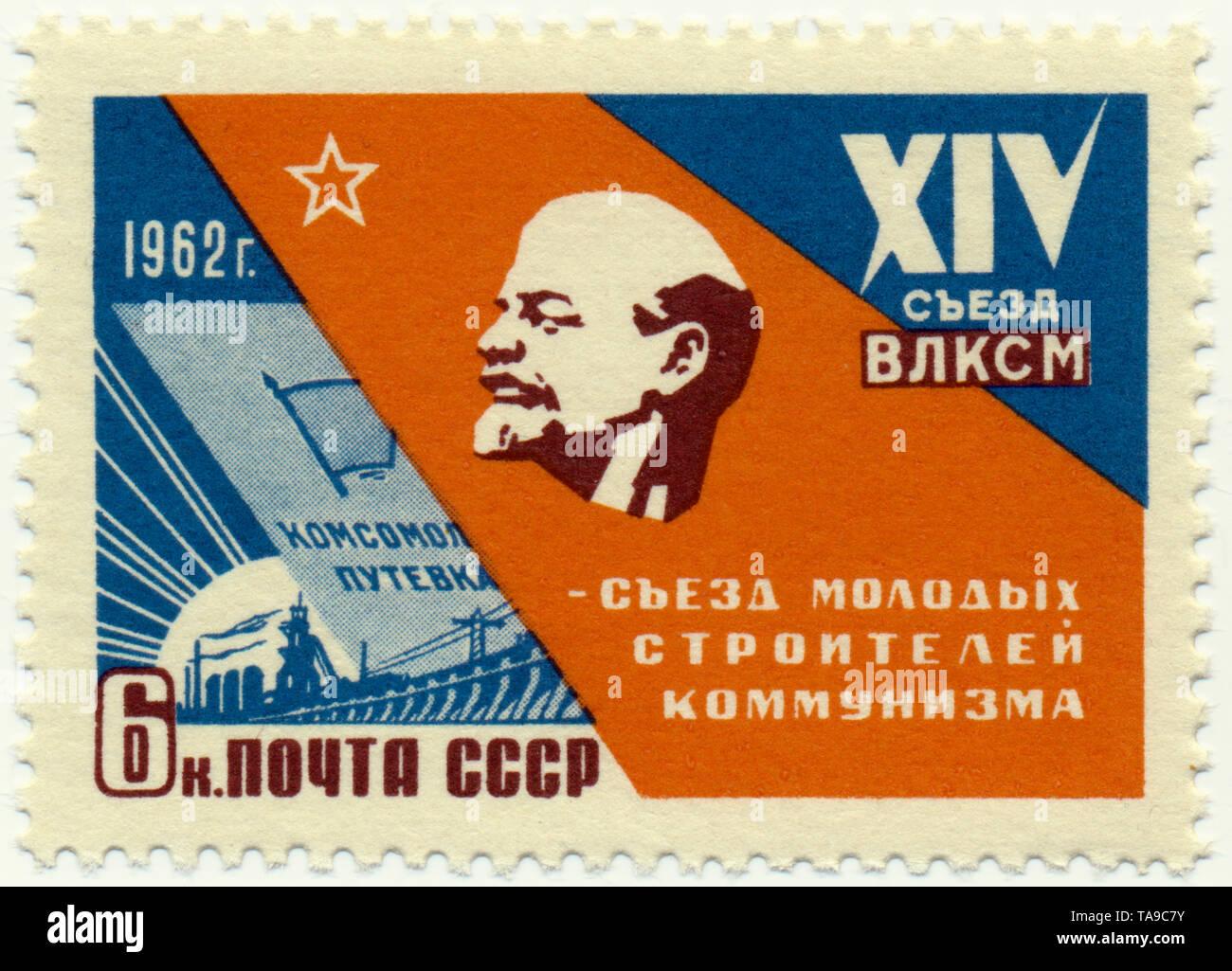 Historic postage stamps of the USSR, political motives, Lenin, XIV Congress of the Communist Youth League, Historische Briefmarken, Lenin, XIV Kongress des Kommunistischen Jugendverbandes, 1962, UDSSR - Stock Image
