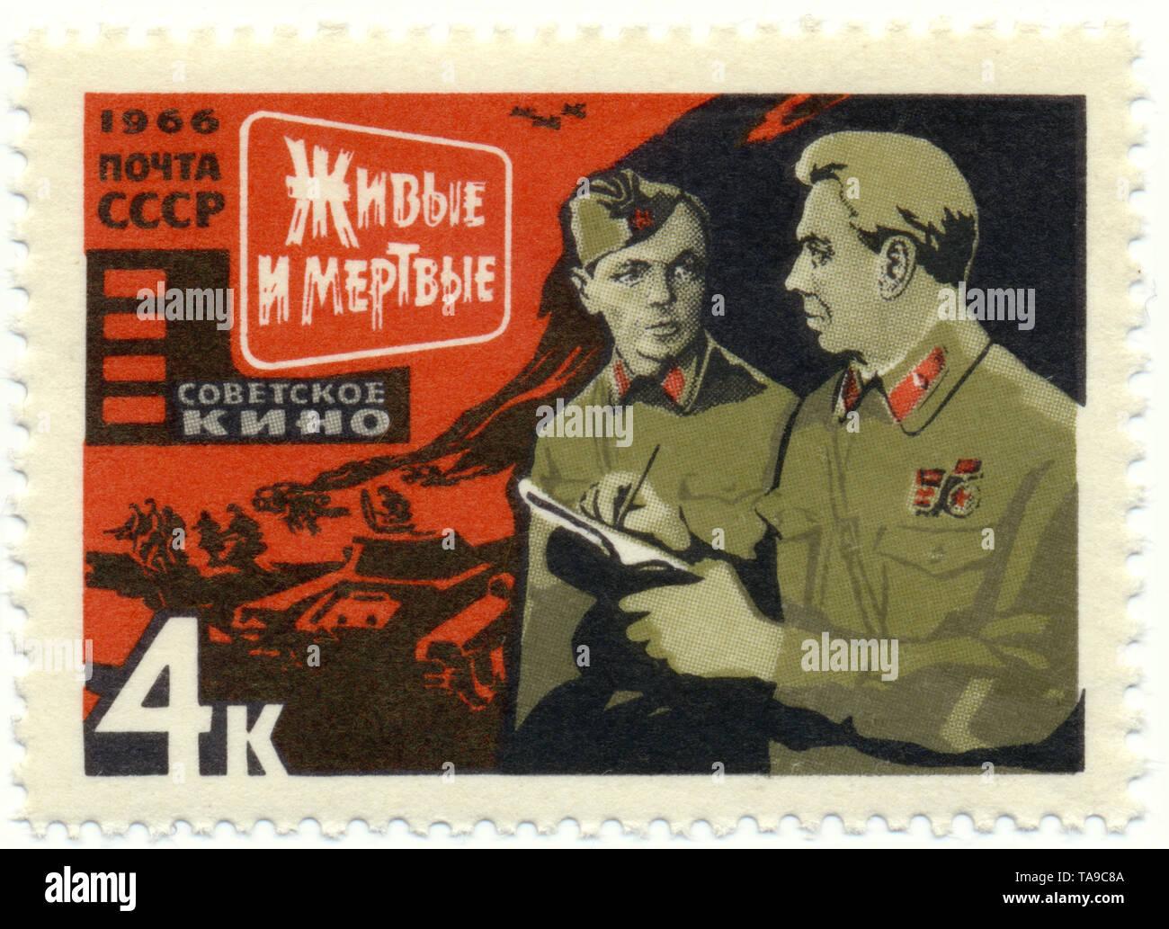 Historic postage stamps of the USSR, political motives, Historische Briefmarke, Szene aus dem Film 'The Living and the Dead' von A. Stolper, 1965, UDSSR - Stock Image