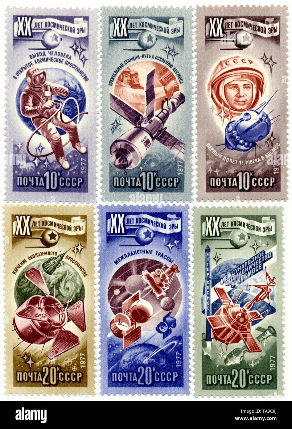 Historic postage stamps of the USSR, 20th Anniversary of the Space Age, the first man in space, Historische Briefmarke, zum 20. Jahrestag des Weltraum-Zeitalters, der erste Mensch im Weltraum,  1977, UDSSR - Stock Image
