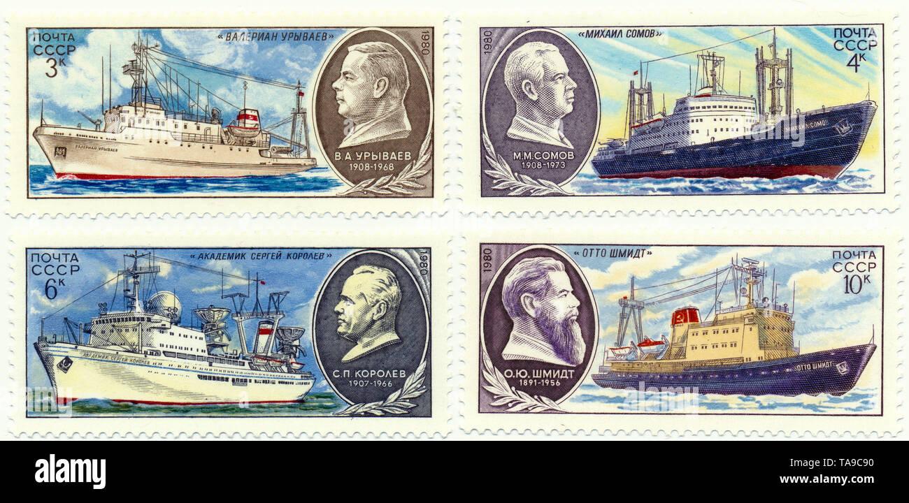 Historic postage stamps of the USSR, research ships, Historische Briefmarken, Forschungsschiffe, Valerian Uryvaev, Mikhail Somov, Akademik Sergei Koroljow, Otto Schmidt, 1980, UDSSR - Stock Image