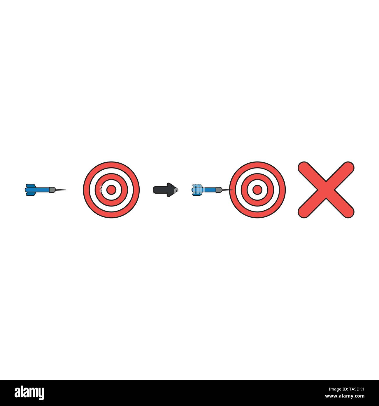 Vector icon concept of bulls eye and dart miss the target with x mark. Black outlines and colored. - Stock Image