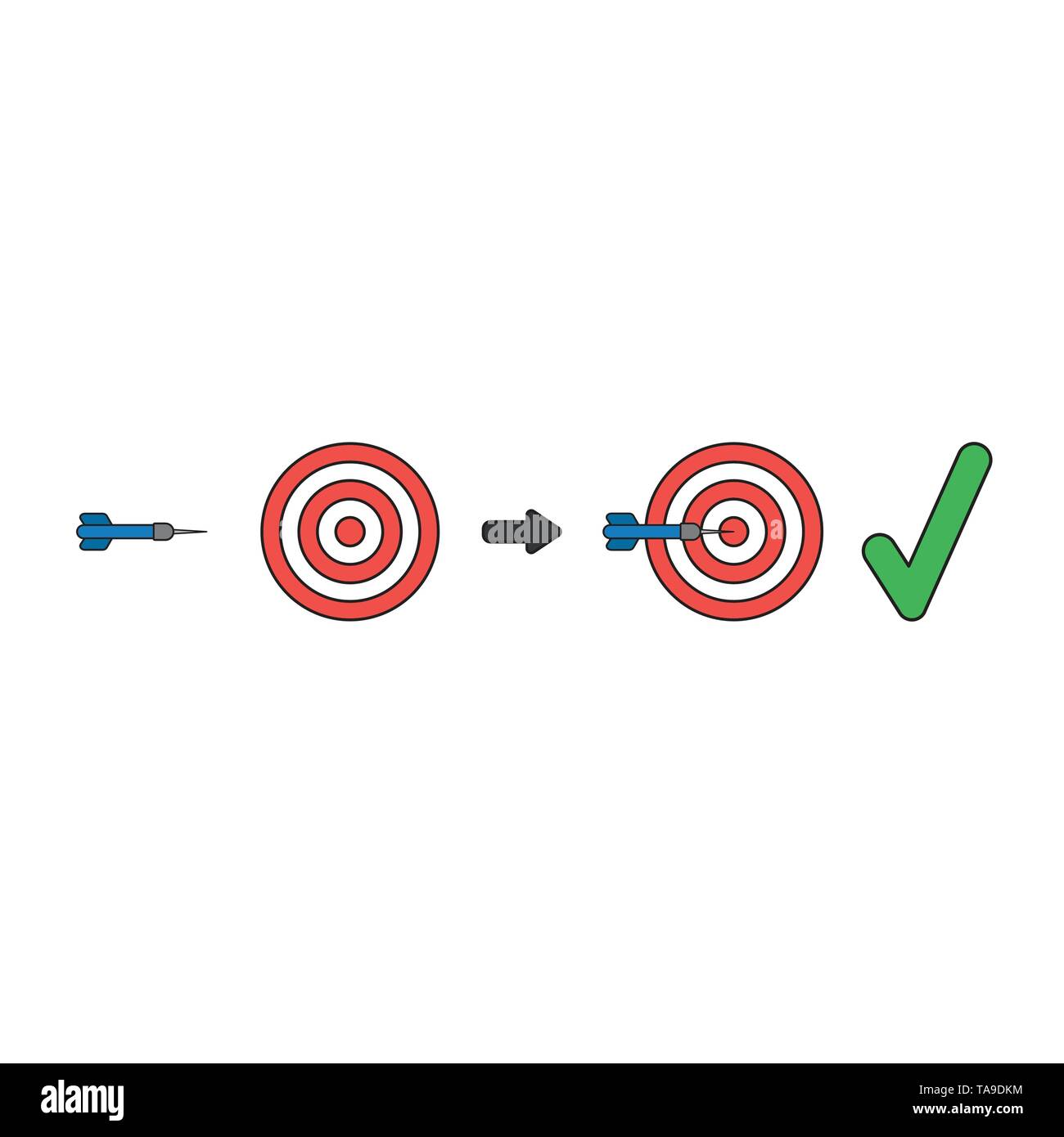 Vector icon concept of bulls eye and dart in the center with check mark. Black outlines and colored. - Stock Image
