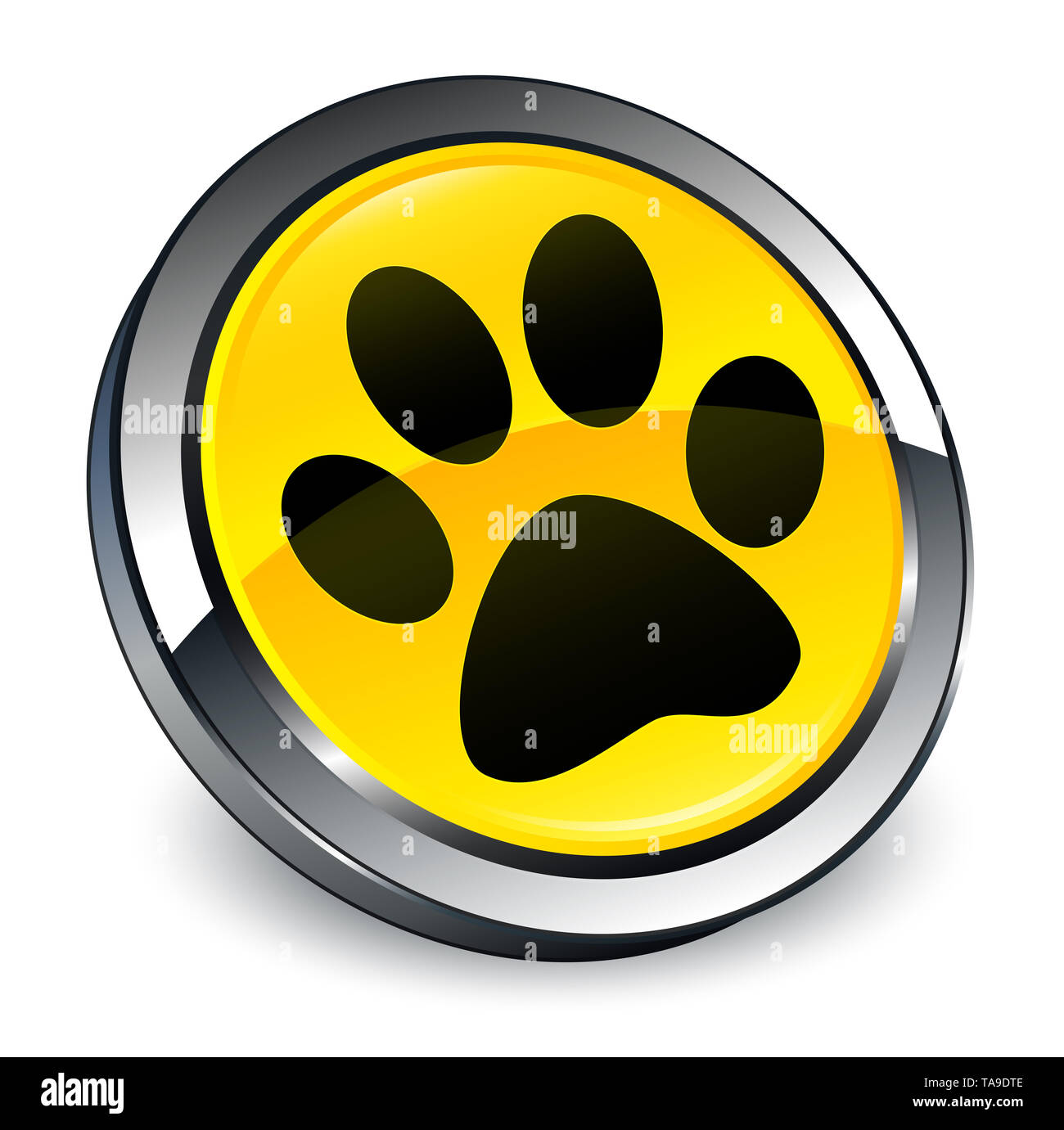 Animal footprint icon isolated on 3d yellow round button abstract illustration - Stock Image
