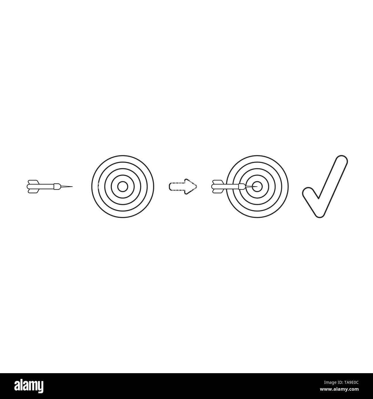 Vector icon concept of bulls eye and dart with check mark. Black outlines. - Stock Image