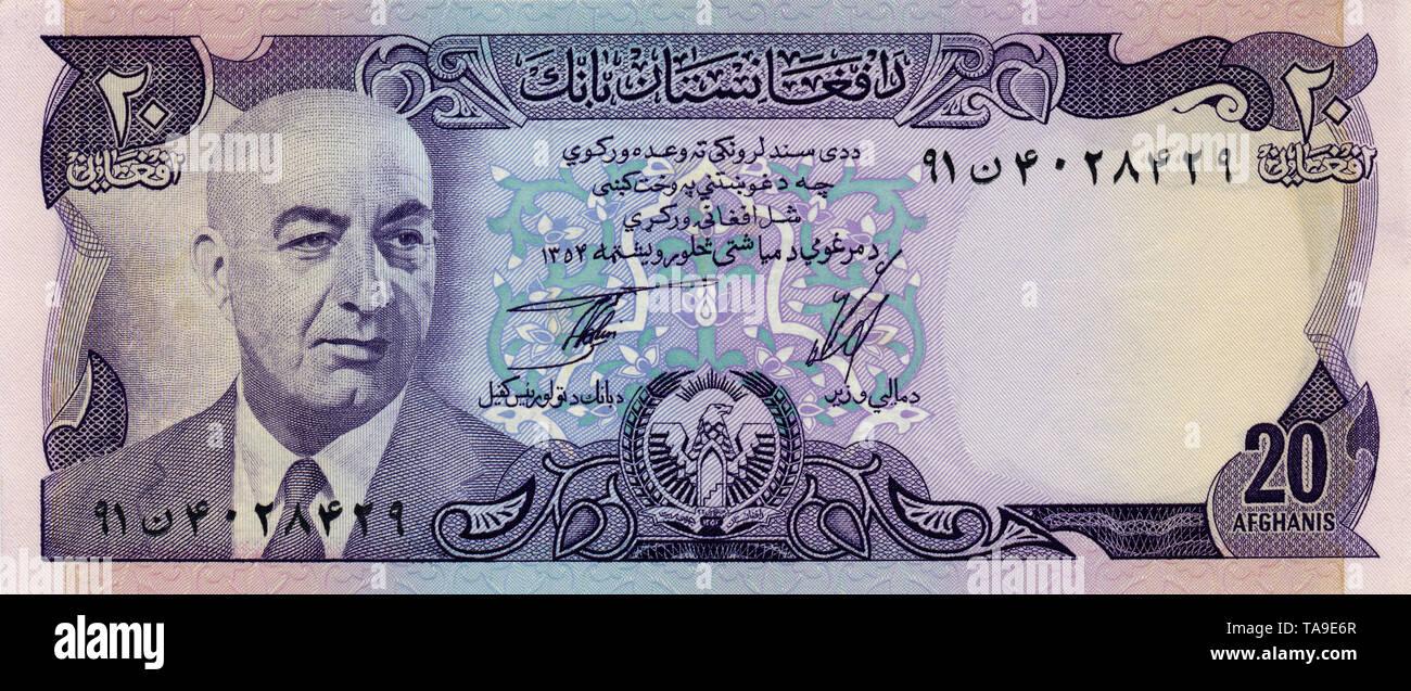 Banknote aus Afghanistan, Mohammed Daoud Khan, 20 Afghani, 1977 - Stock Image