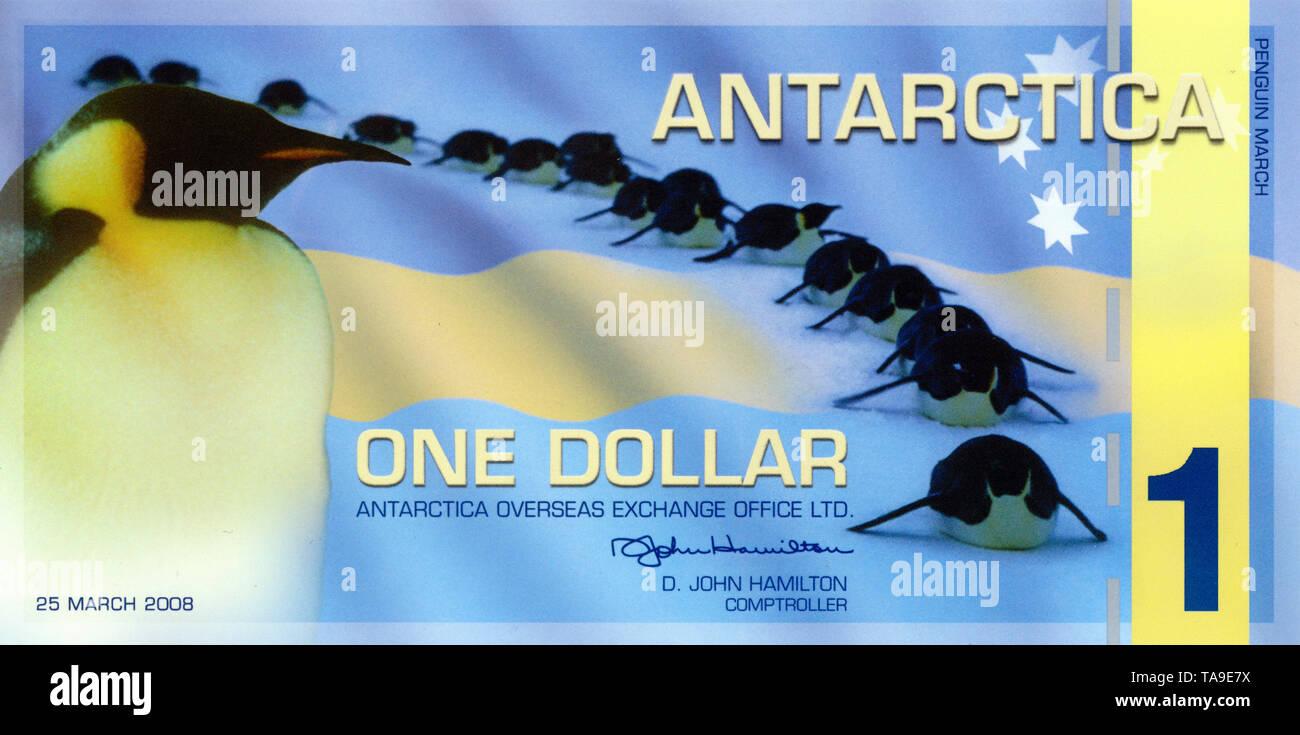 """Banknote, 1 Antarktischer Dollar,  Souvenir- oder Sammlerbanknote, herausgegeben 1996 vom """"The Antarctica Overseas Exchange Office Ltd."""",  Custer, Washington, USA - Stock Image"""