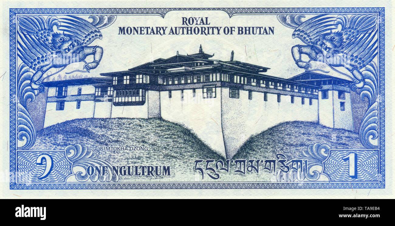 Banknote aus Bhutan, 1 Ngultrum , der Simtokha Dzong Palast, 1981, Banknote from Bhutan, 1 Ngultrum, Simtokha Dzong Palace - Stock Image