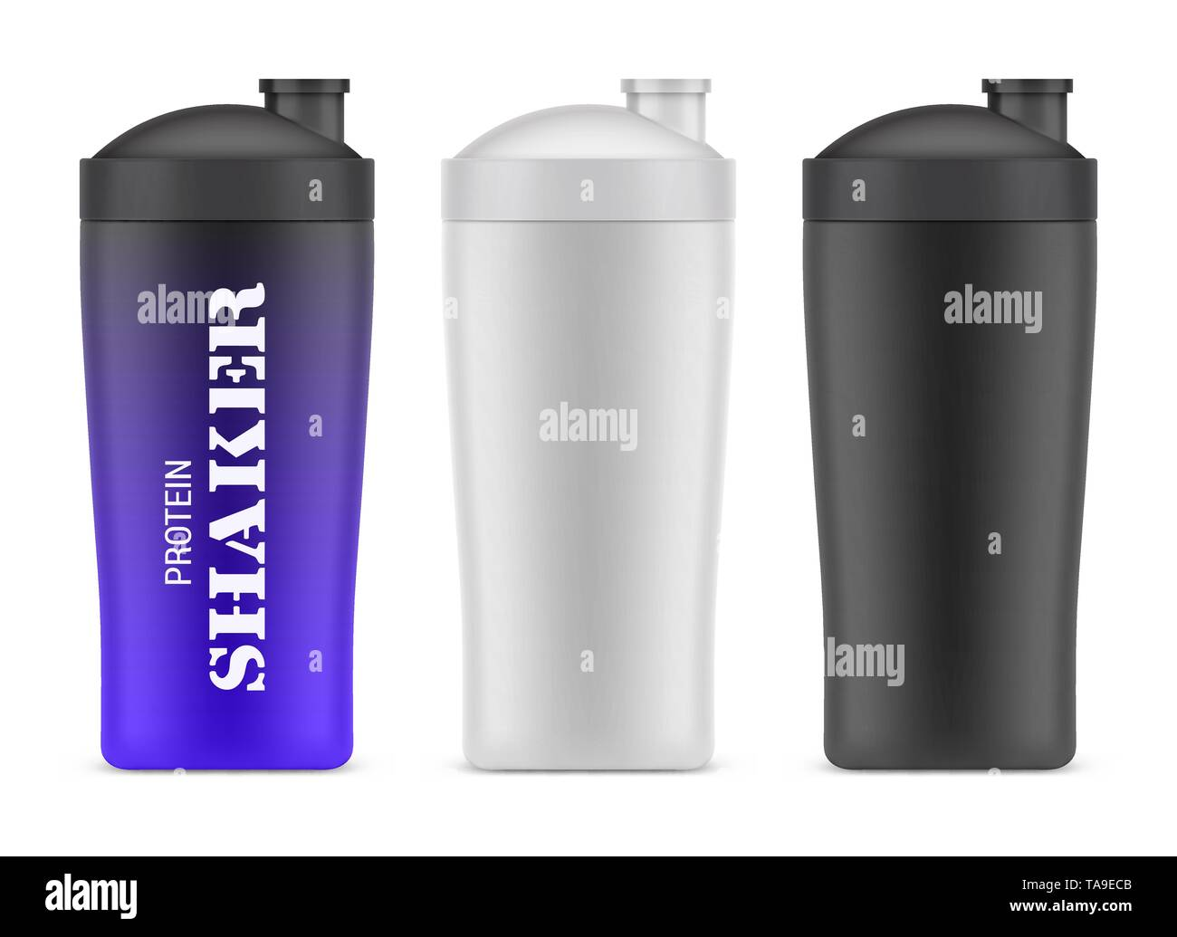 Plastic bottle for sport or shakers. Container - Stock Image