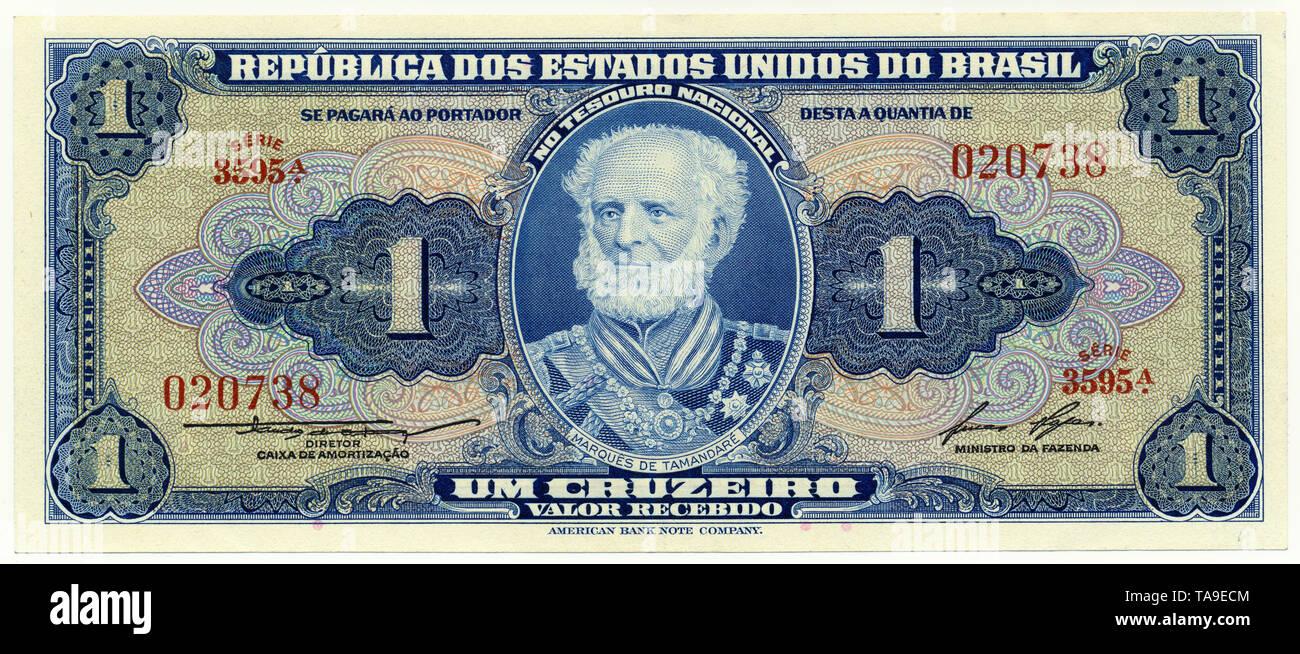 Historische Banknote, 1 Cruzeiro, Joaquim Marques Lisboa, der Marquis von Tamandare, 1958,  Brasilien, Südamerika, Brasil - Stock Image