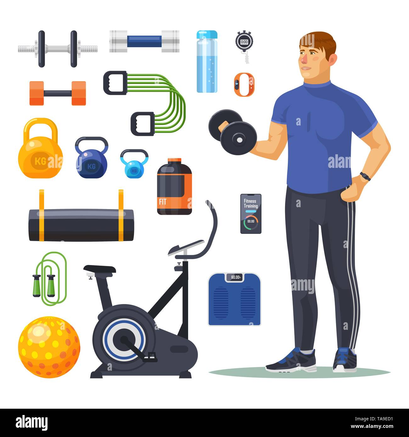 Isolated workout, fitness, items. Bodybuilder - Stock Image
