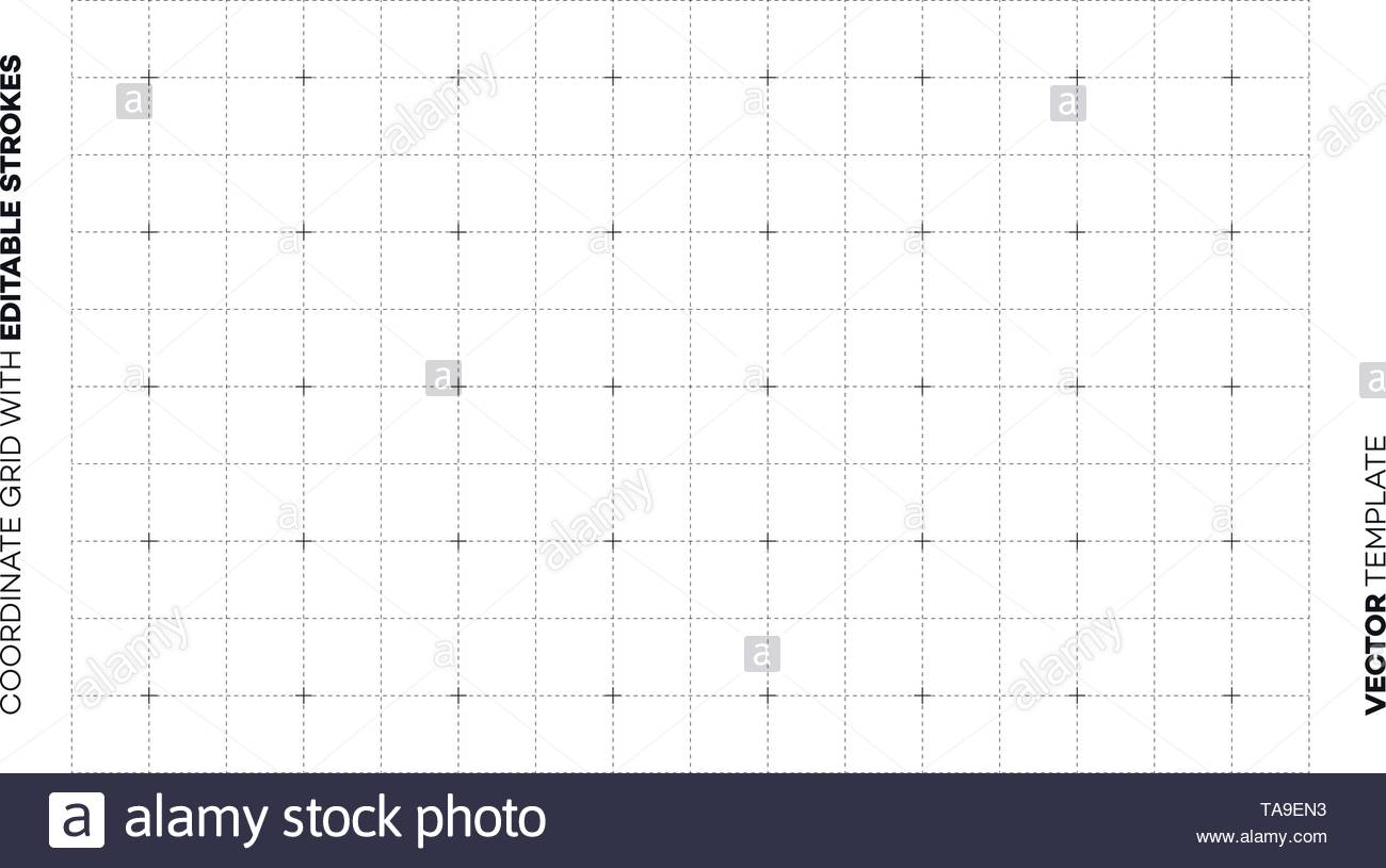 Abstract Empty Blueprint Grid With Editable Outline Strokes. Vector Blank Page Backdrop Template. - Stock Image