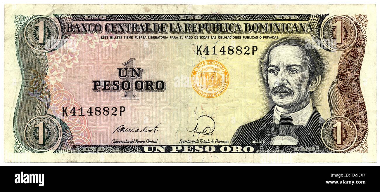 Historische Banknote, Dominikanische Republik 1 Peso Oro, der Freiheitskämpfer Juan Pablo Duarte, 1988, Dominican Republic, Banco Central Republica Dominicana - Stock Image