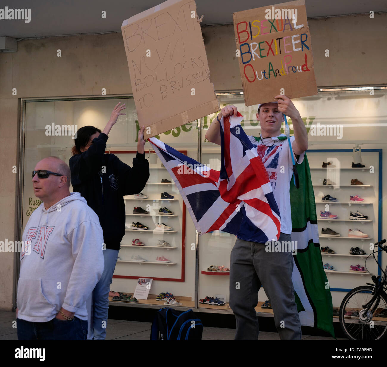 Exeter, UK. 22nd May, 2019. Labour Party rally in Bedford Street and Hustings at Exeter Cathedral. Two UKIP supporters try but fail to disrupt the meeting Credit: Anthony Collins/Alamy Live News Stock Photo