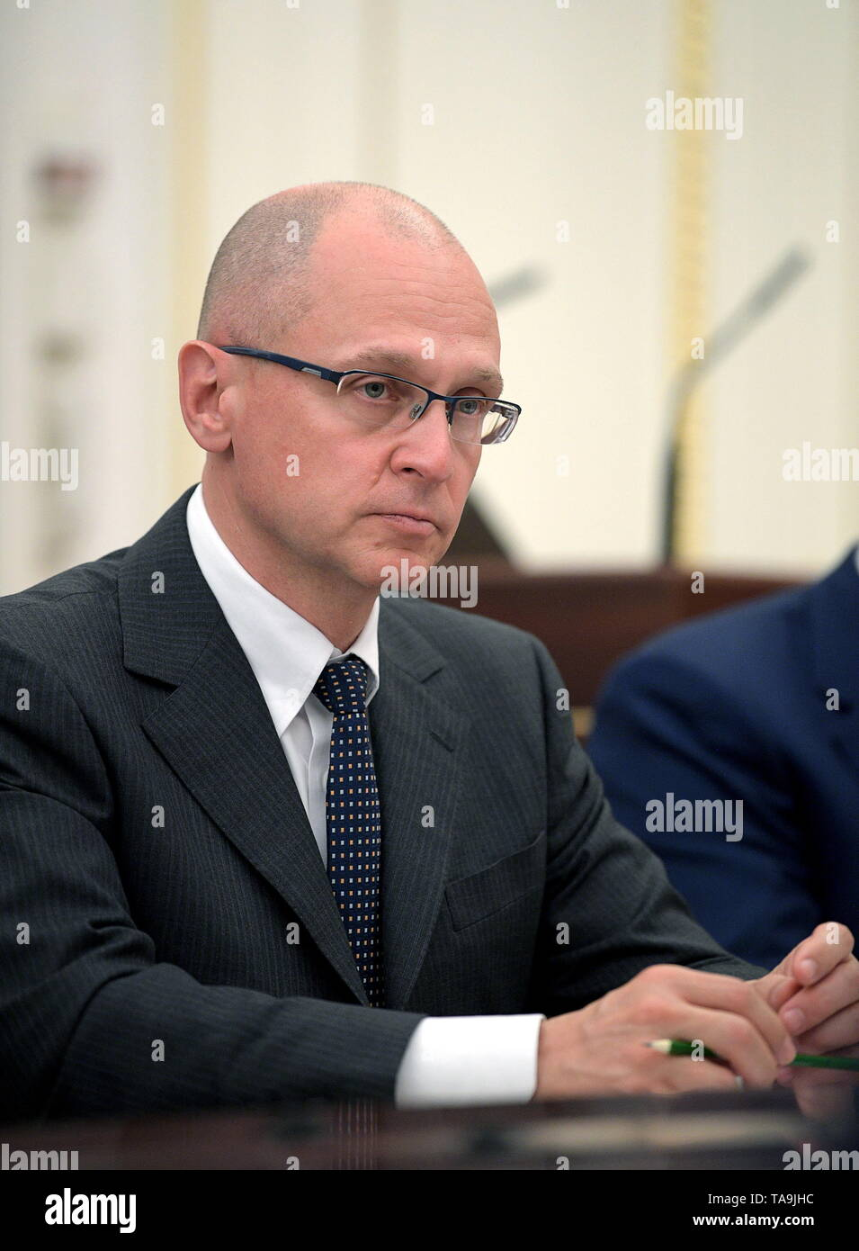 Moscow, Russia. 22nd May, 2019. MOSCOW, RUSSIA - MAY 22, 2019: Kremlin's First Deputy Chief of Staff Sergei Kiriyenko during a meeting between Russian President Vladimir Putin and members of the Russian Government at Moscow's Kremlin. Alexei Druzhinin/Russian Presidential Press and Information Office/TASS Credit: ITAR-TASS News Agency/Alamy Live News - Stock Image