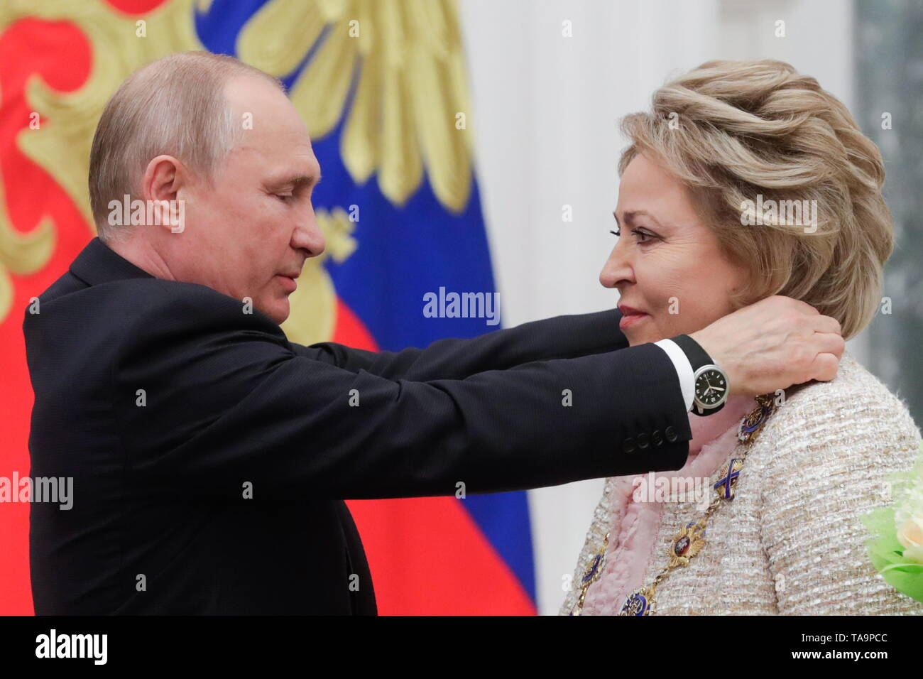 Moscow, Russia. 23rd May, 2019. MOSCOW, RUSSIA - MAY 23, 2019: Russia's President Vladimir Putin (L) and Russian Federation Council Chairperson Valentina Matviyenko during a ceremony to present state decorations at Moscow's Kremlin. Mikhail Metzel/TASS Credit: ITAR-TASS News Agency/Alamy Live News - Stock Image