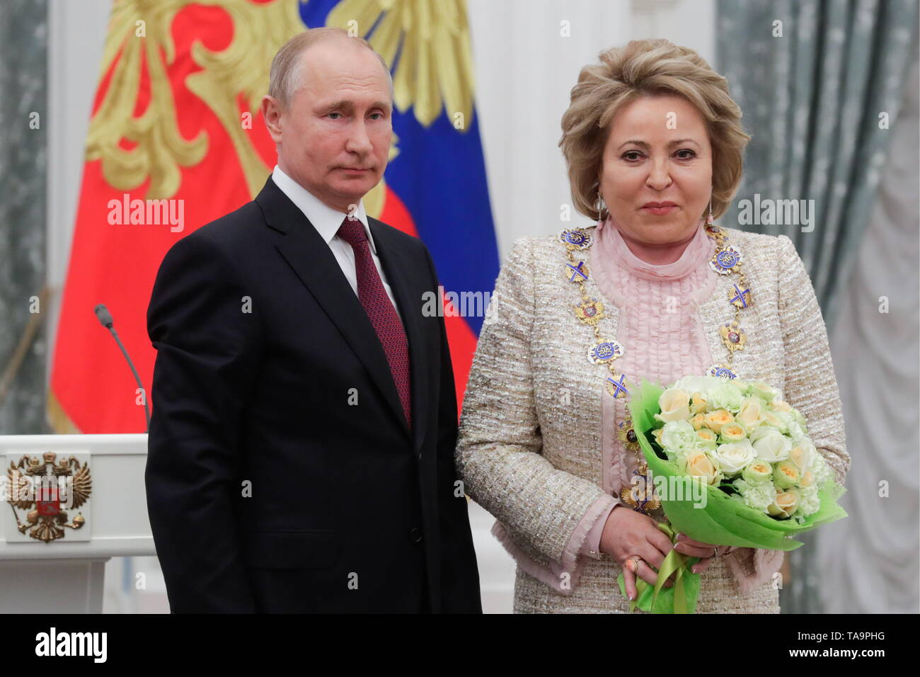 Moscow, Russia. 23rd May, 2019. MOSCOW, RUSSIA - MAY 23, 2019: Russia's President Vladimir Putin (L) and Russian Federation Council Chairperson Valentina Matviyenko, awarded the Order of St Andrew the Apostle the First-Called, during a ceremony to present state decorations at Moscow's Kremlin. Mikhail Metzel/TASS Credit: ITAR-TASS News Agency/Alamy Live News - Stock Image