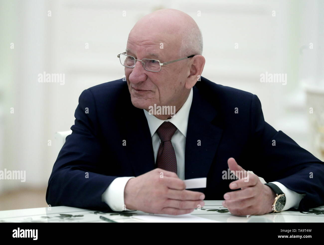 Moscow, Russia. 23rd May, 2019. MOSCOW, RUSSIA - MAY 23, 2019: Former Orenburg Region Governor Yuri Berg during a meeting of Russia's President Vladimir Putin with former heads of Russian regions, at the Moscow Kremlin. Mikhail Metzel/TASS Credit: ITAR-TASS News Agency/Alamy Live News - Stock Image
