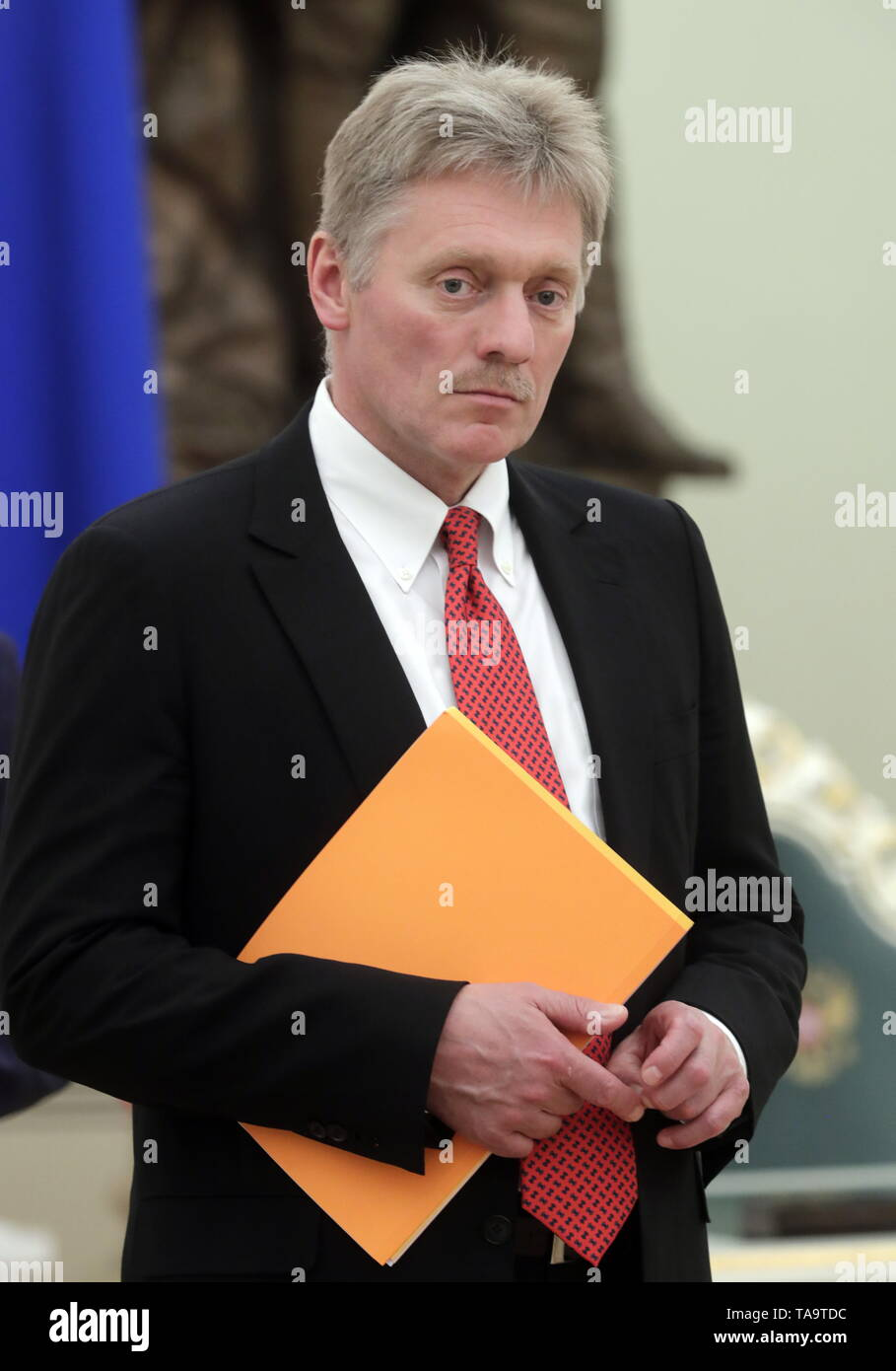 Moscow, Russia. 23rd May, 2019. MOSCOW, RUSSIA - MAY 23, 2019: Russian Presidential Spokesman Dmitry Peskov during a meeting of Russia's President Vladimir Putin with former heads of Russian regions, at the Moscow Kremlin. Mikhail Metzel/TASS Credit: ITAR-TASS News Agency/Alamy Live News - Stock Image