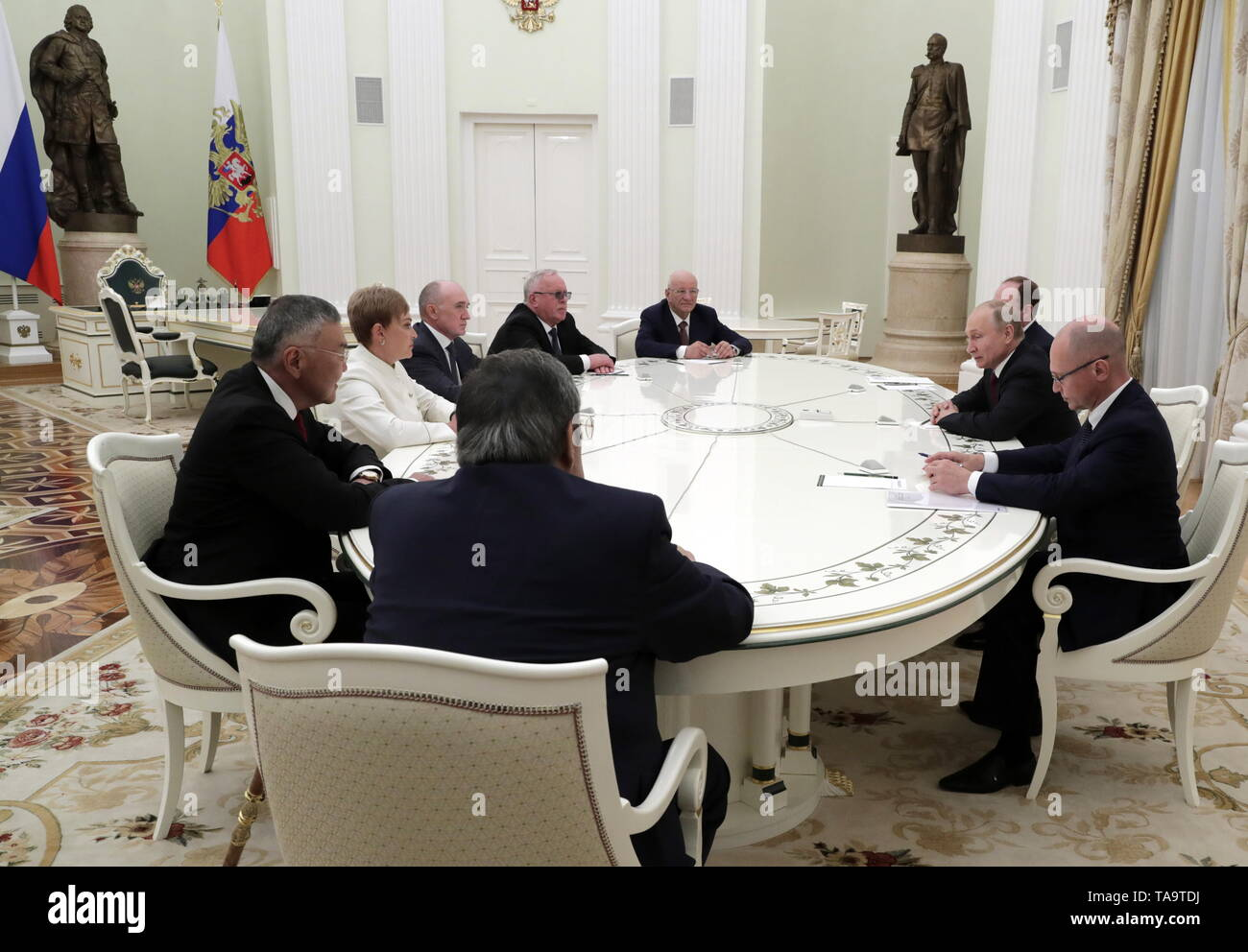 Moscow, Russia. 23rd May, 2019. MOSCOW, RUSSIA - MAY 23, 2019: Russia's President Vladimir Putin (2nd R) during a meeting with former heads of Russian regions, at the Moscow Kremlin. Mikhail Metzel/TASS Credit: ITAR-TASS News Agency/Alamy Live News - Stock Image