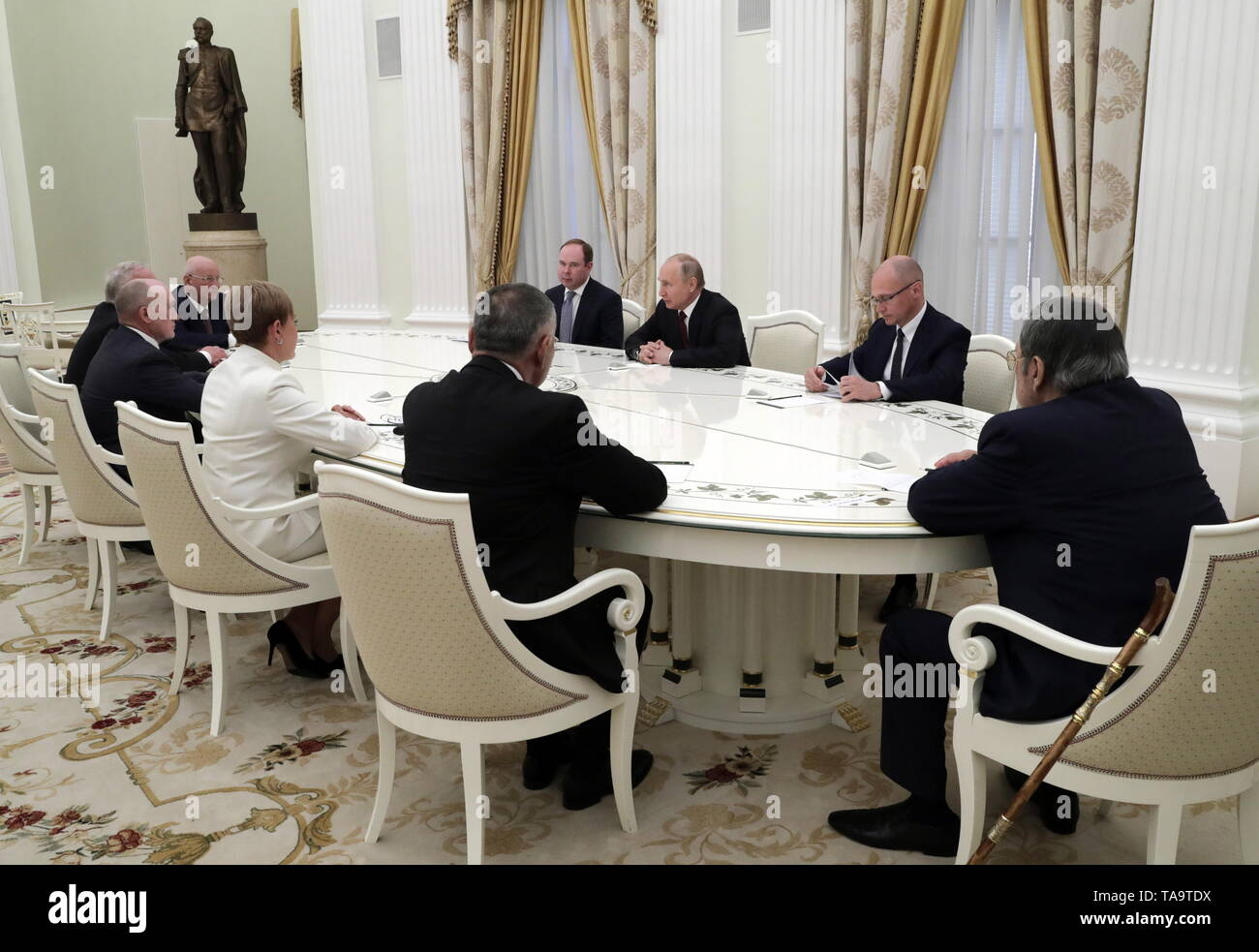 Moscow, Russia. 23rd May, 2019. MOSCOW, RUSSIA - MAY 23, 2019: Russia's President Vladimir Putin (C) during a meeting with former heads of Russian regions, at the Moscow Kremlin. Mikhail Metzel/TASS Credit: ITAR-TASS News Agency/Alamy Live News - Stock Image
