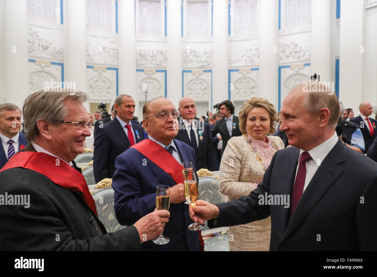 Moscow, Russia. 23rd May, 2019. MOSCOW, RUSSIA - MAY 23, 2019: Vladimir Fedoseyev, Artistic Director and Chief Conductor of the Tchaikovsky Symphony Orchestra, Lomonosov Moscow State University Rector Viktor Sadovnichy, Federation Council Chairperson Valentina Matvienko, and Russia's President Vladimir Putin (L-R front) after a ceremony to present state decorations at the Moscow Kremlin. Mikhail Klimentyev/Russian Presidential Press and Information Office/TASS Credit: ITAR-TASS News Agency/Alamy Live News - Stock Image