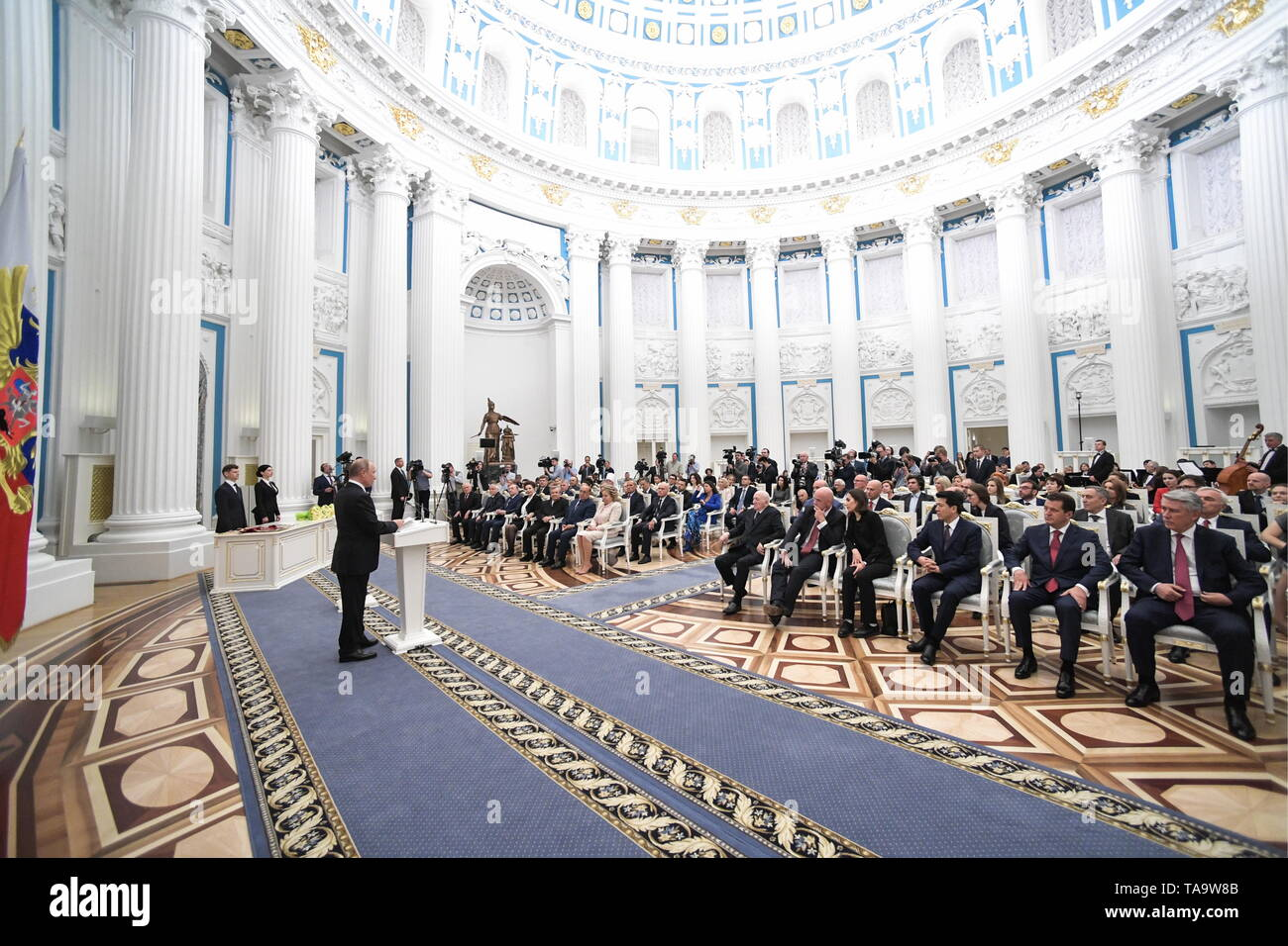 Moscow, Russia. 23rd May, 2019. MOSCOW, RUSSIA - MAY 23, 2019: Russia's President Vladimir Putin (R) attends a ceremony to present state decorations at the Moscow Kremlin. Alexei Nikolsky/Russian Presidential Press and Information Office/TASS Credit: ITAR-TASS News Agency/Alamy Live News - Stock Image