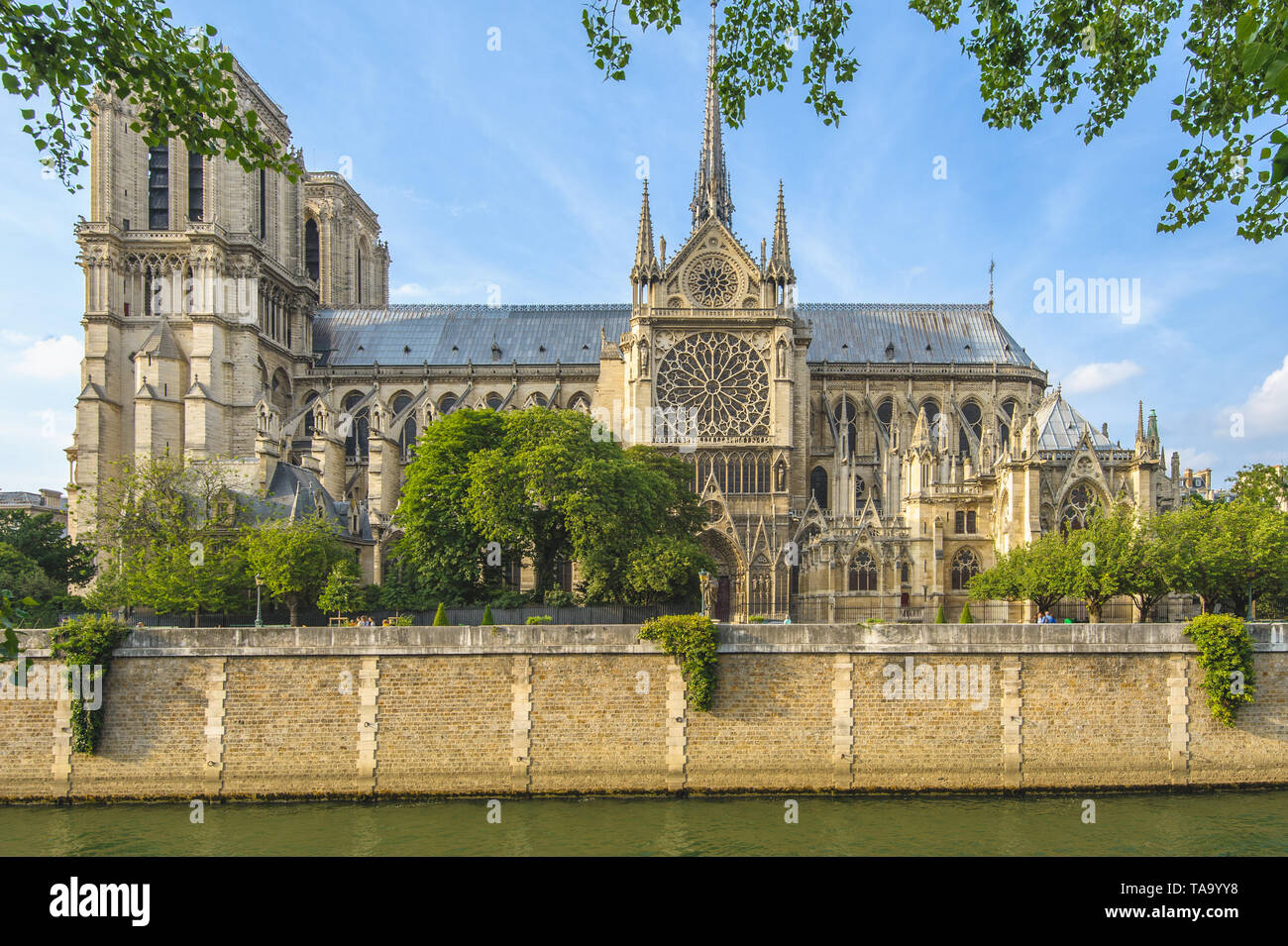 Notre Dame de Paris Cathedral and Seine River - Stock Image