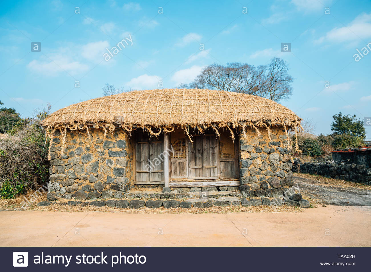 Seongeup Folk Village, Korean traditional house in Jeju Island, Korea - Stock Image