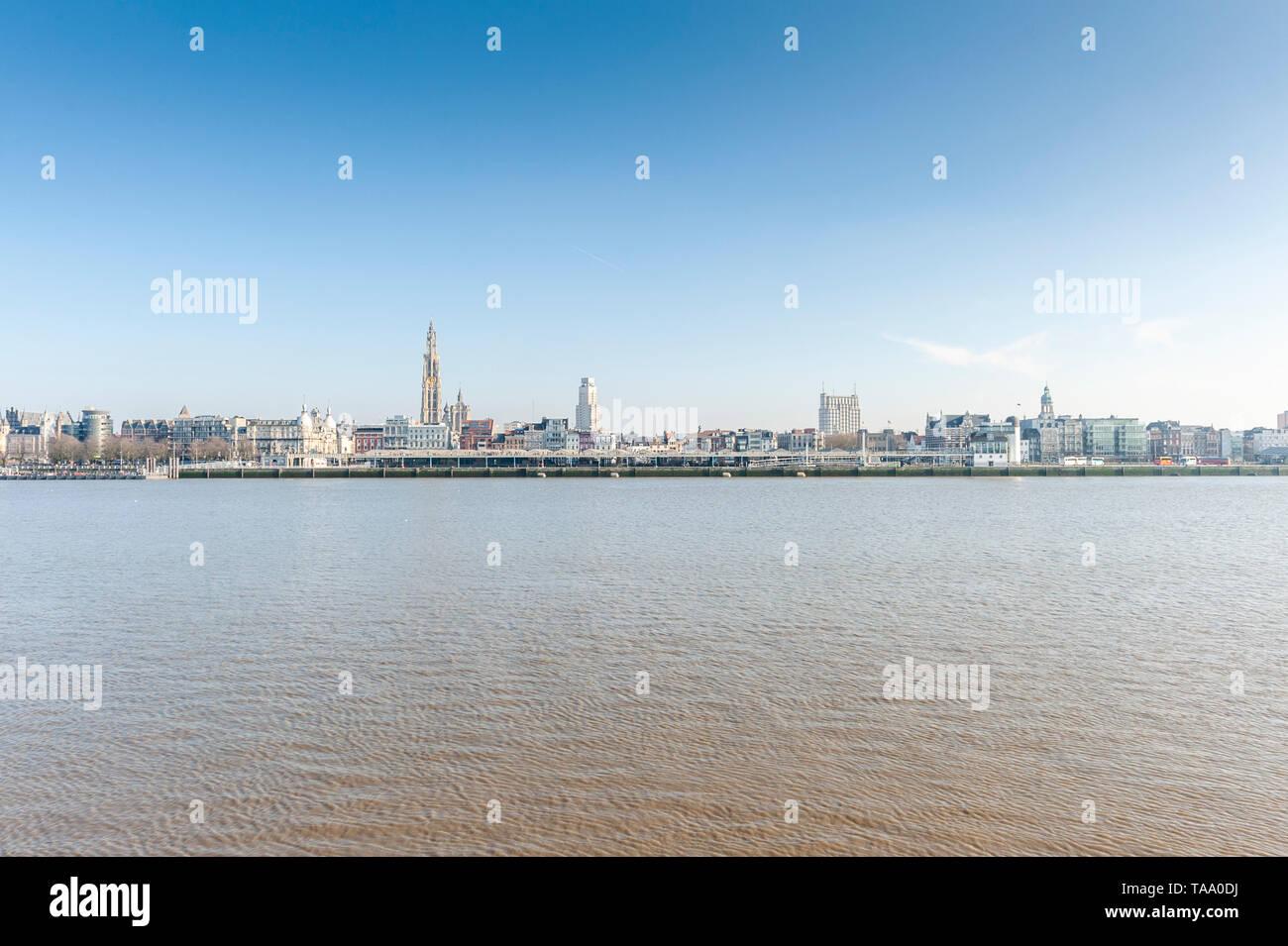 Belgium, Antwerp - 15 February 2015: cityscape of Antwerp as seen from Linkeroever - Stock Image