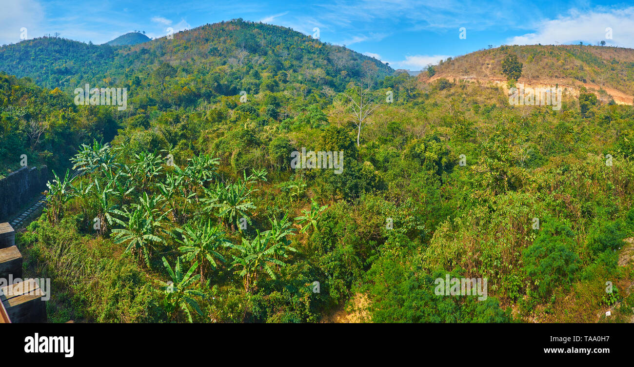 Panorama of the mountain landscape with lush green jungle forest, Heho, Myanmar. Stock Photo