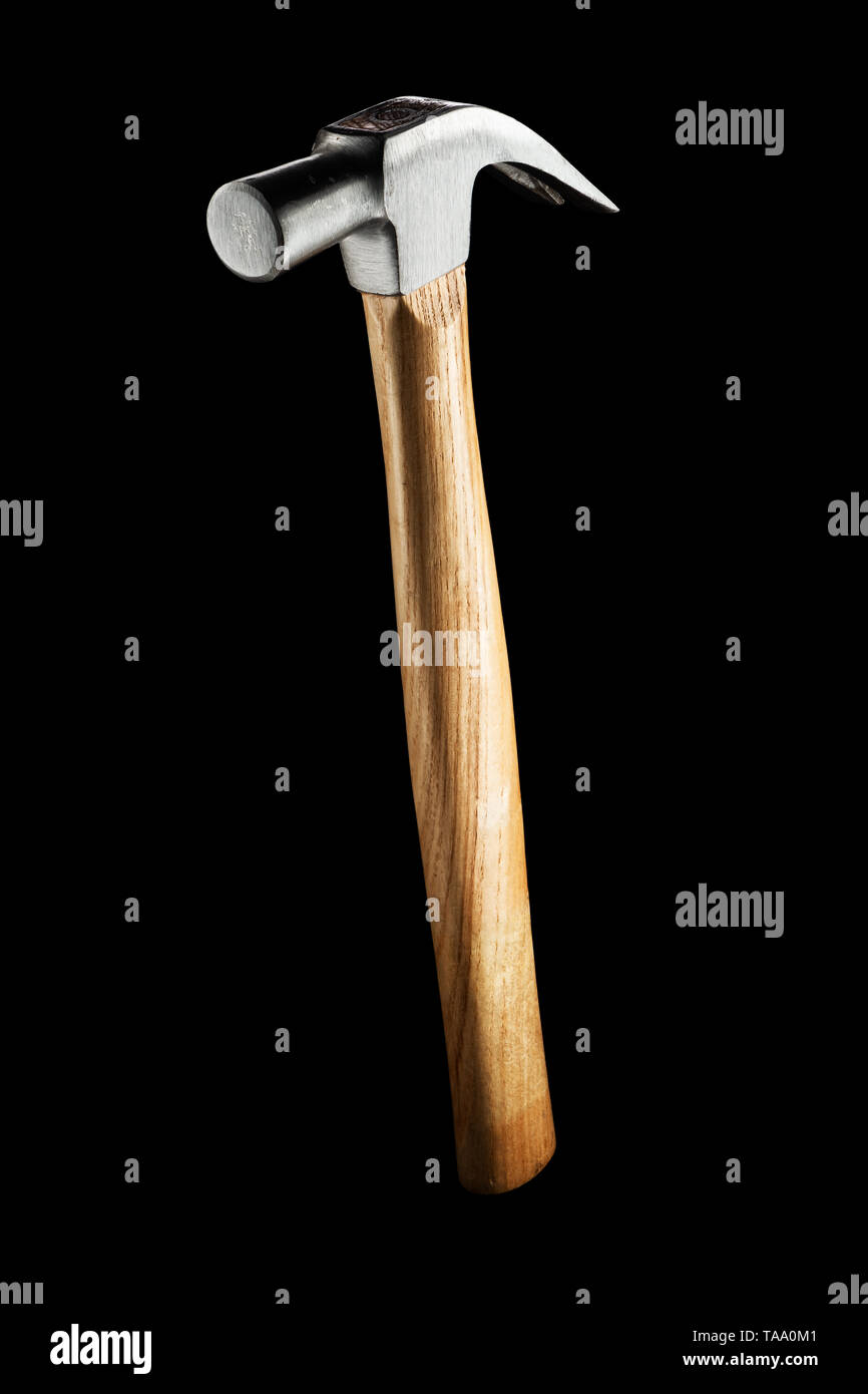 Claw Hammer isolated on a black background with clipping path - Stock Image