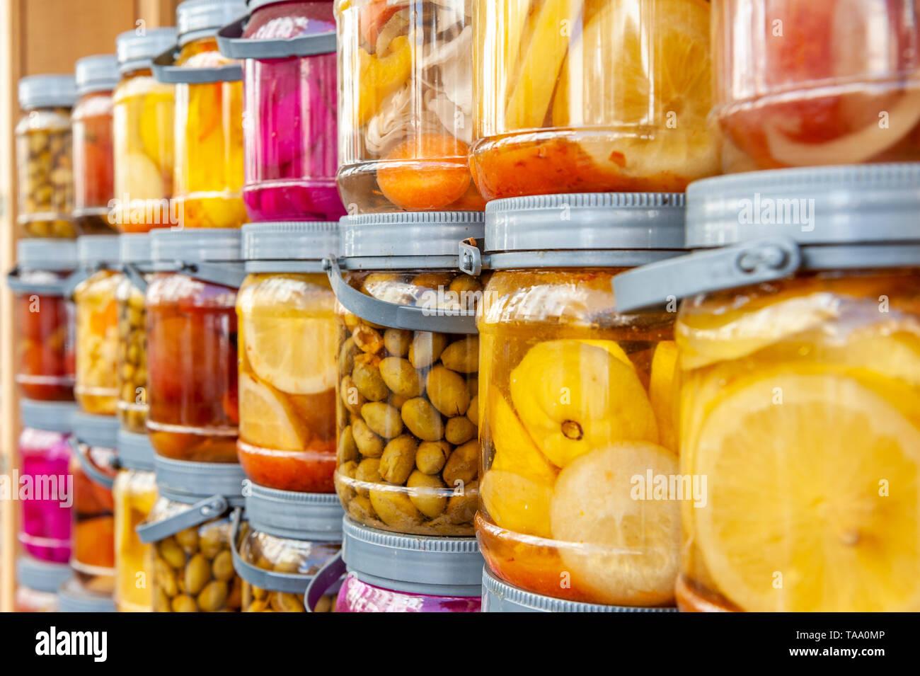 Israel, Tel Aviv-Yafo - 17 May 2019: Shuk levinsky market: preserves, Tel Aviv, Israel - Stock Image