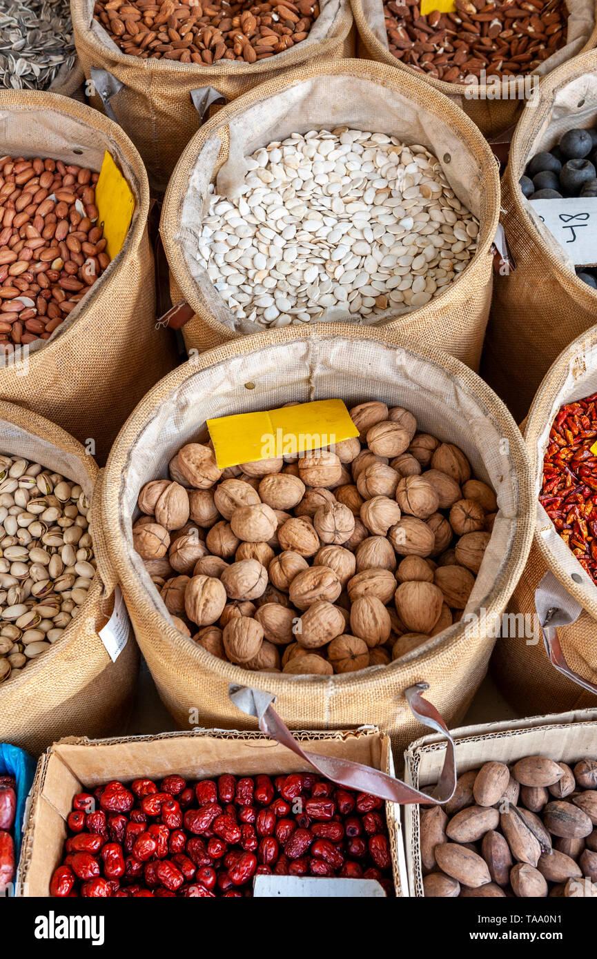Israel, Tel Aviv-Yafo - 17 May 2019: Shuk levinsky market: nuts, Tel Aviv, Israel - Stock Image