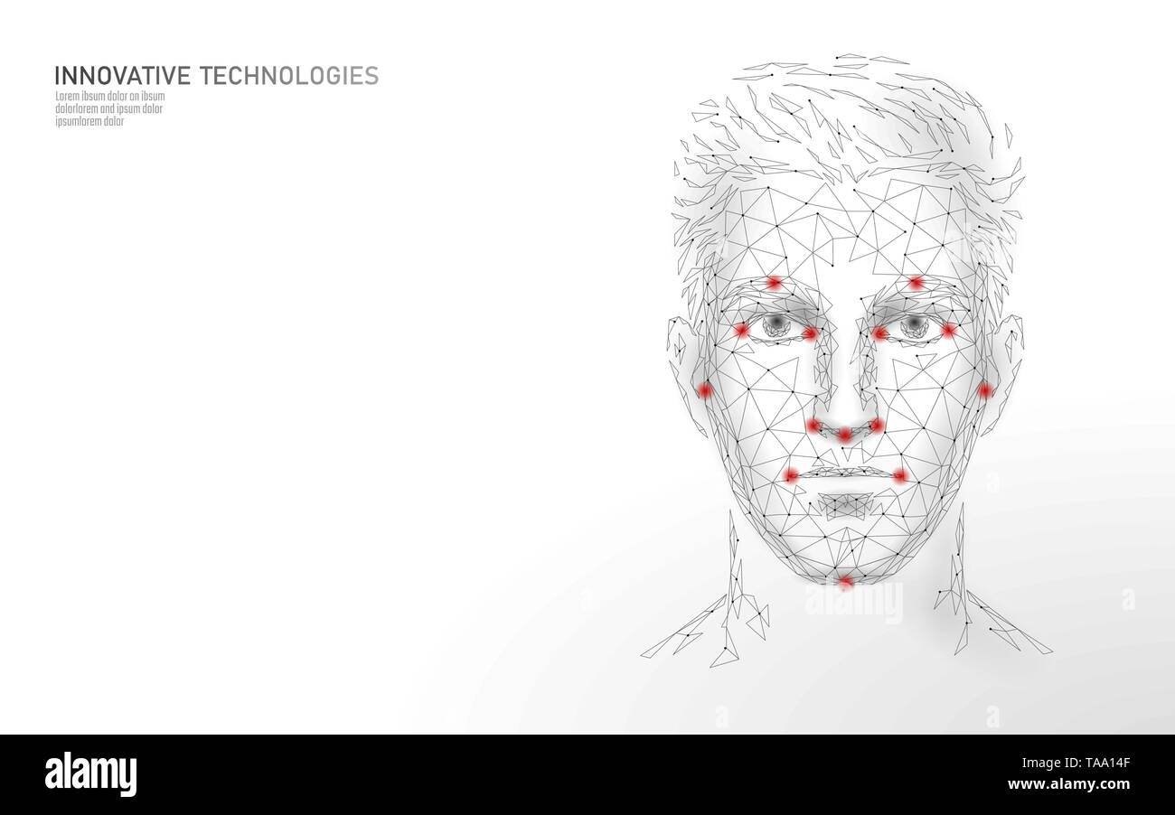 Low poly male human face biometric identification. Recognition system concept. Personal data secure access scanning innovation technology. 3D - Stock Image